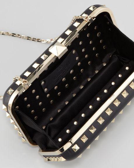 Valentino Rockstud Leather Minaudiere Clutch Bag Black In