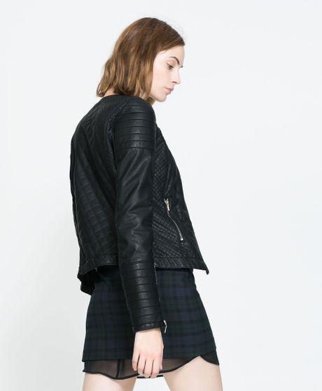 Zara Faux Leather Biker Jacket in Black | Lyst