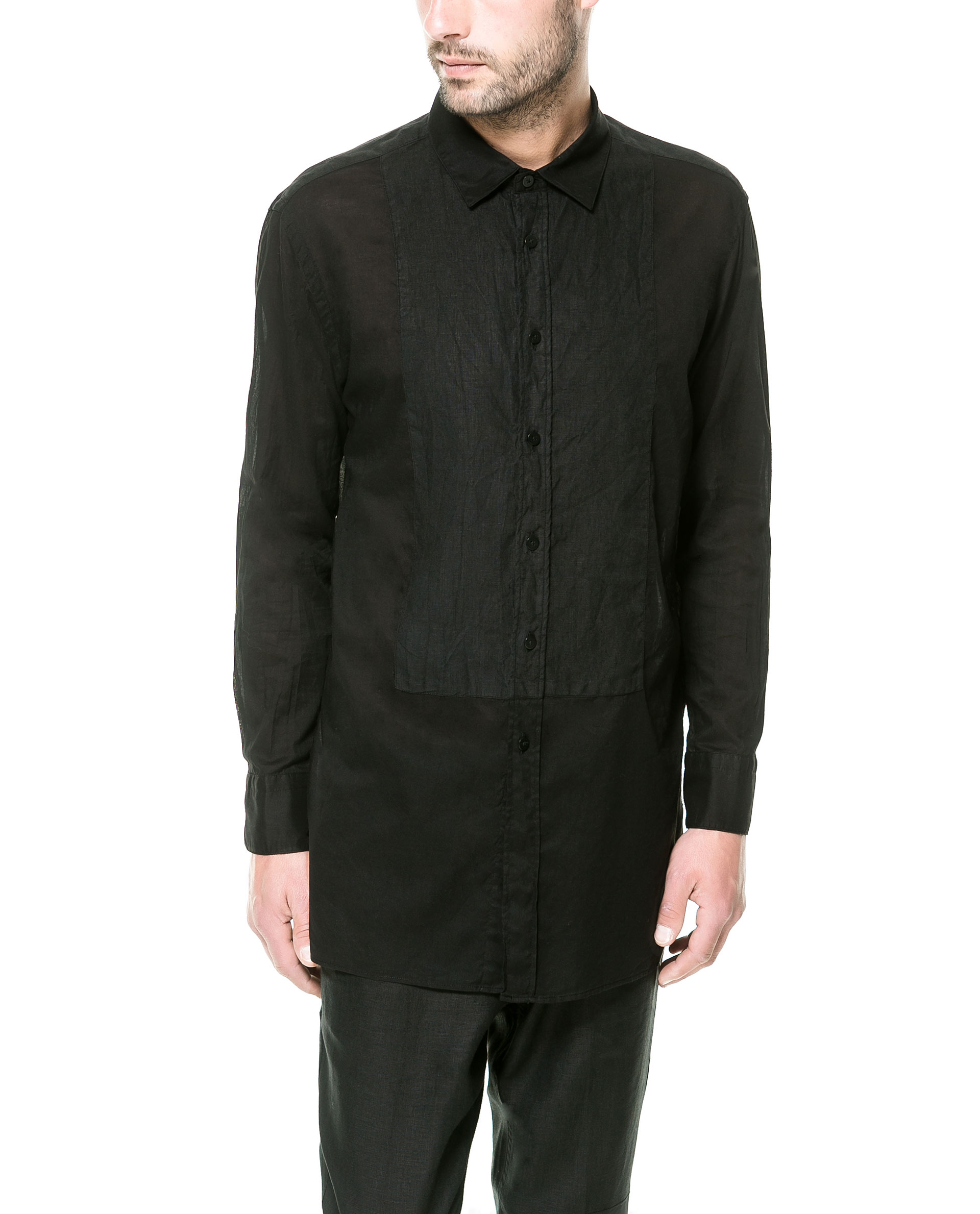 Zara Linen Shirt with Voile Bib Front in Black for Men | Lyst