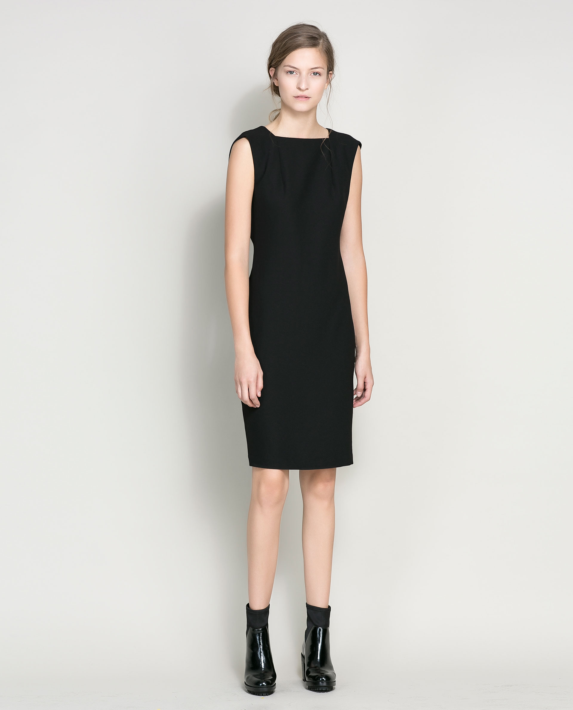 Zara Sleeveless Dress in Black | Lyst