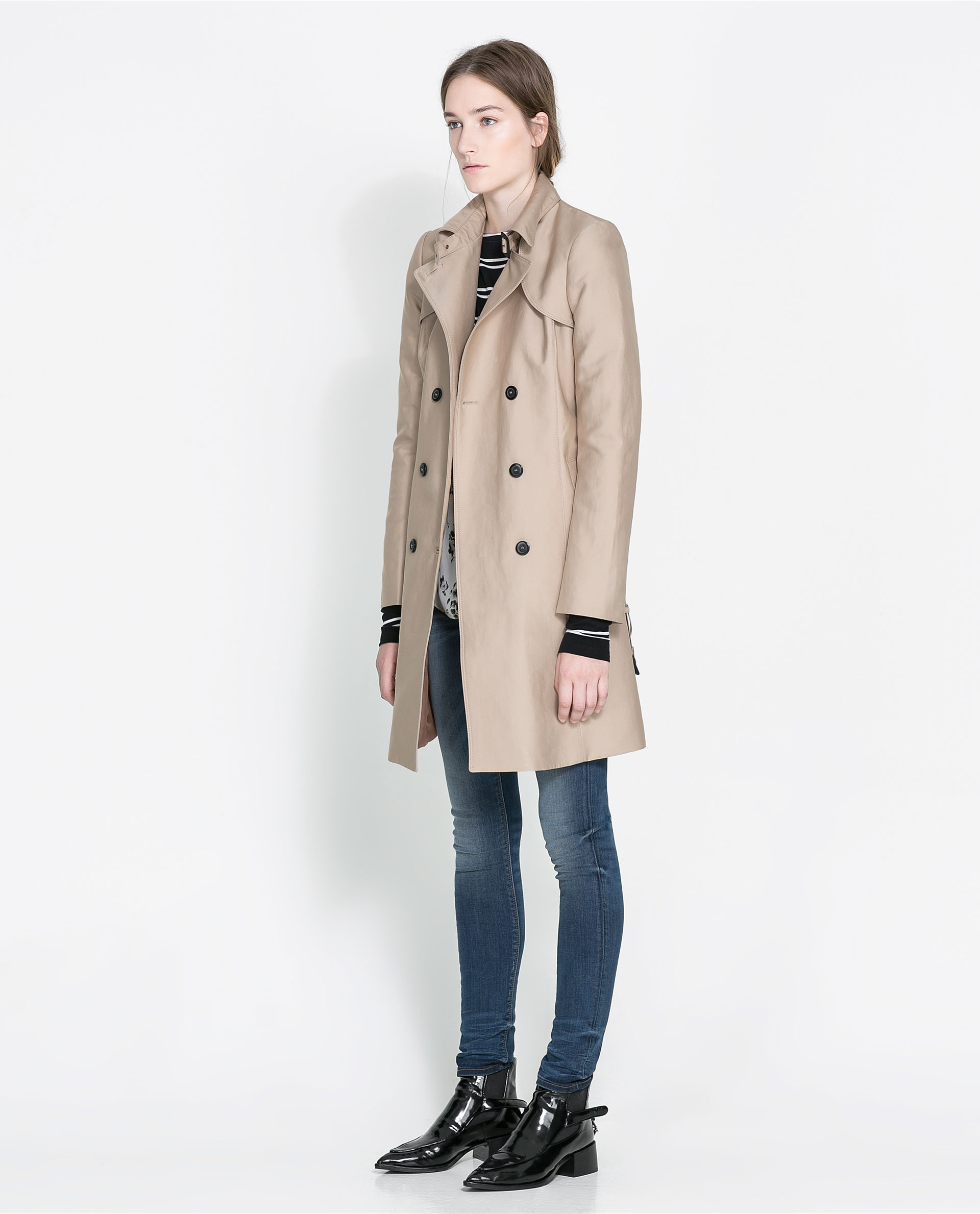 zara cotton trench coat in beige camel lyst. Black Bedroom Furniture Sets. Home Design Ideas