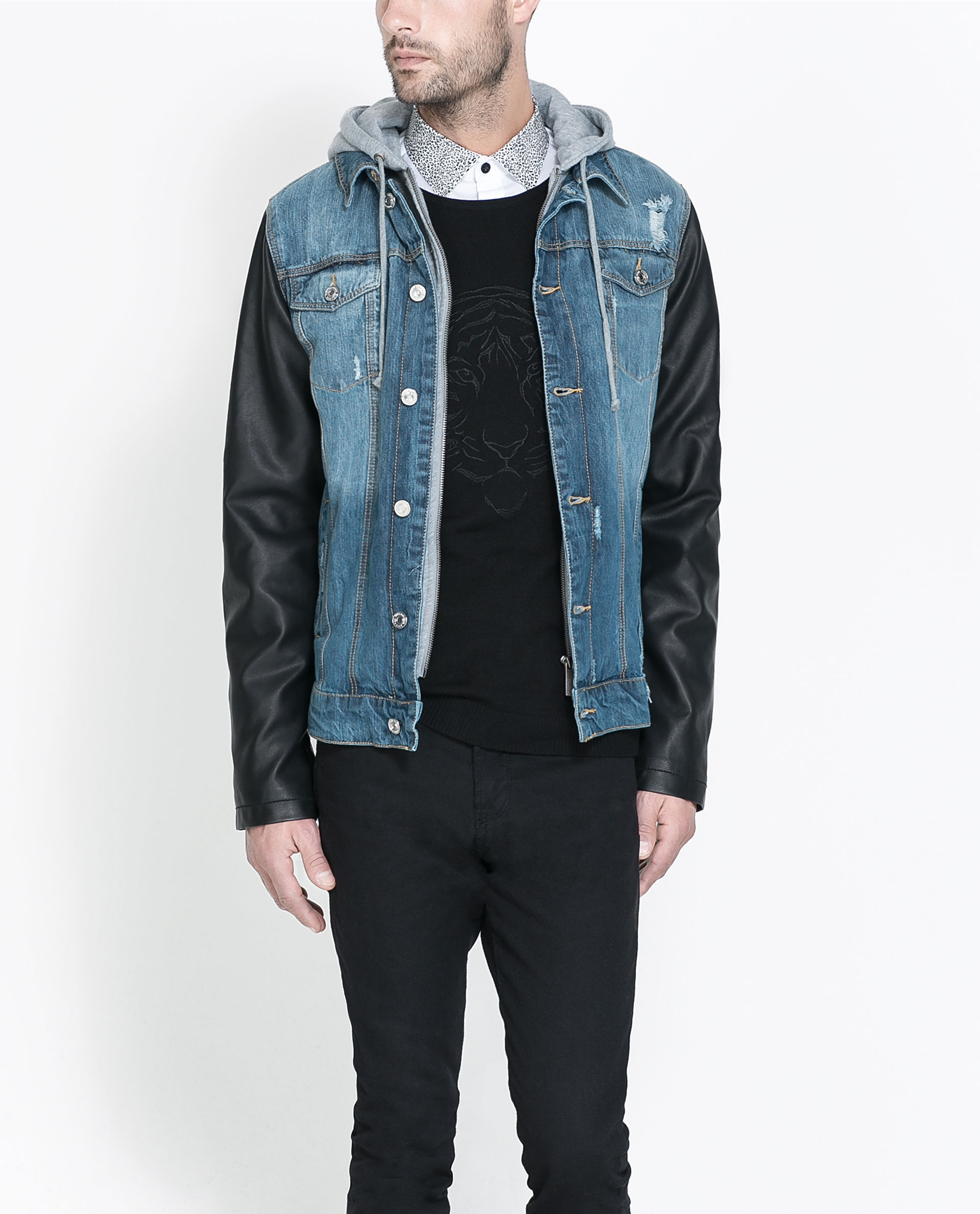 Zara Denim Jacket with Faux Leather Sleeves in Blue for Men | Lyst