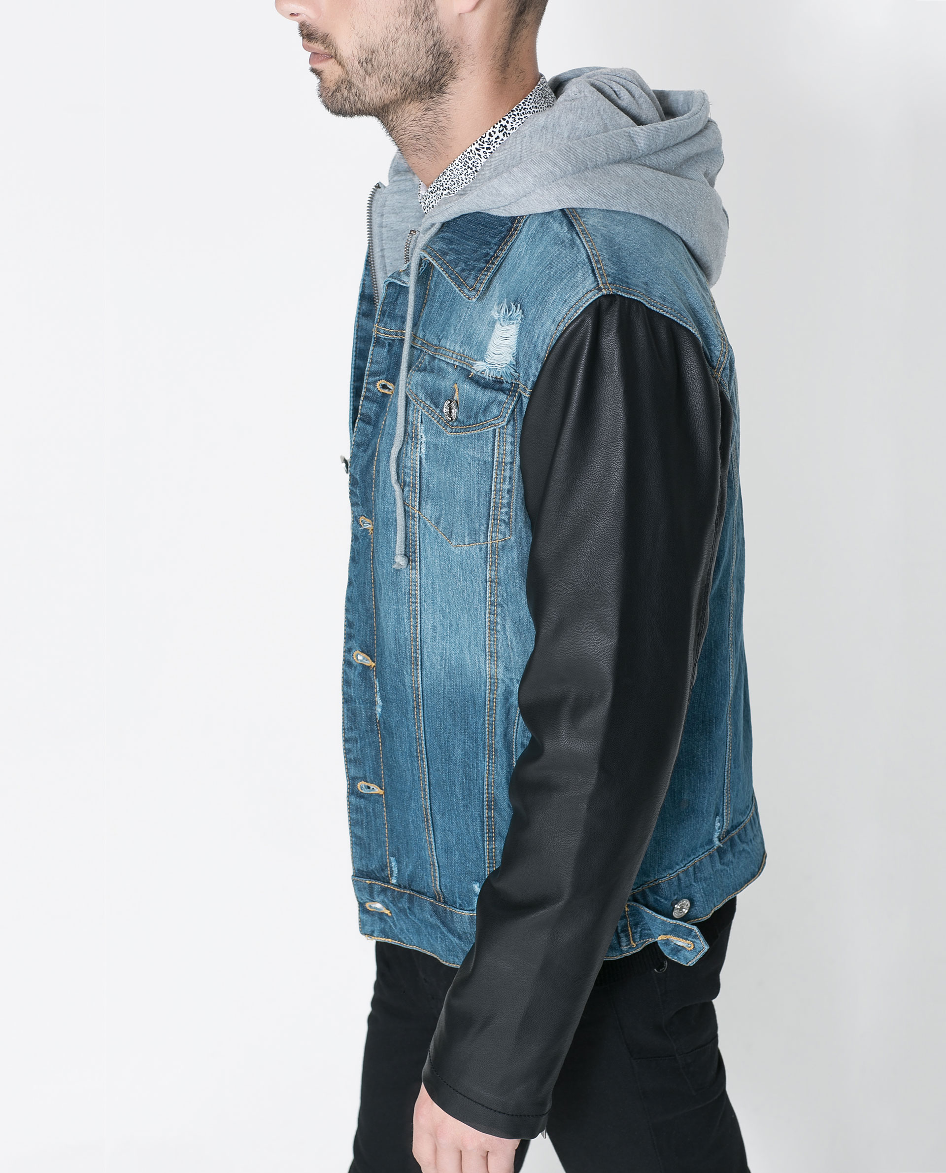 Jean jacket with faux leather sleeves