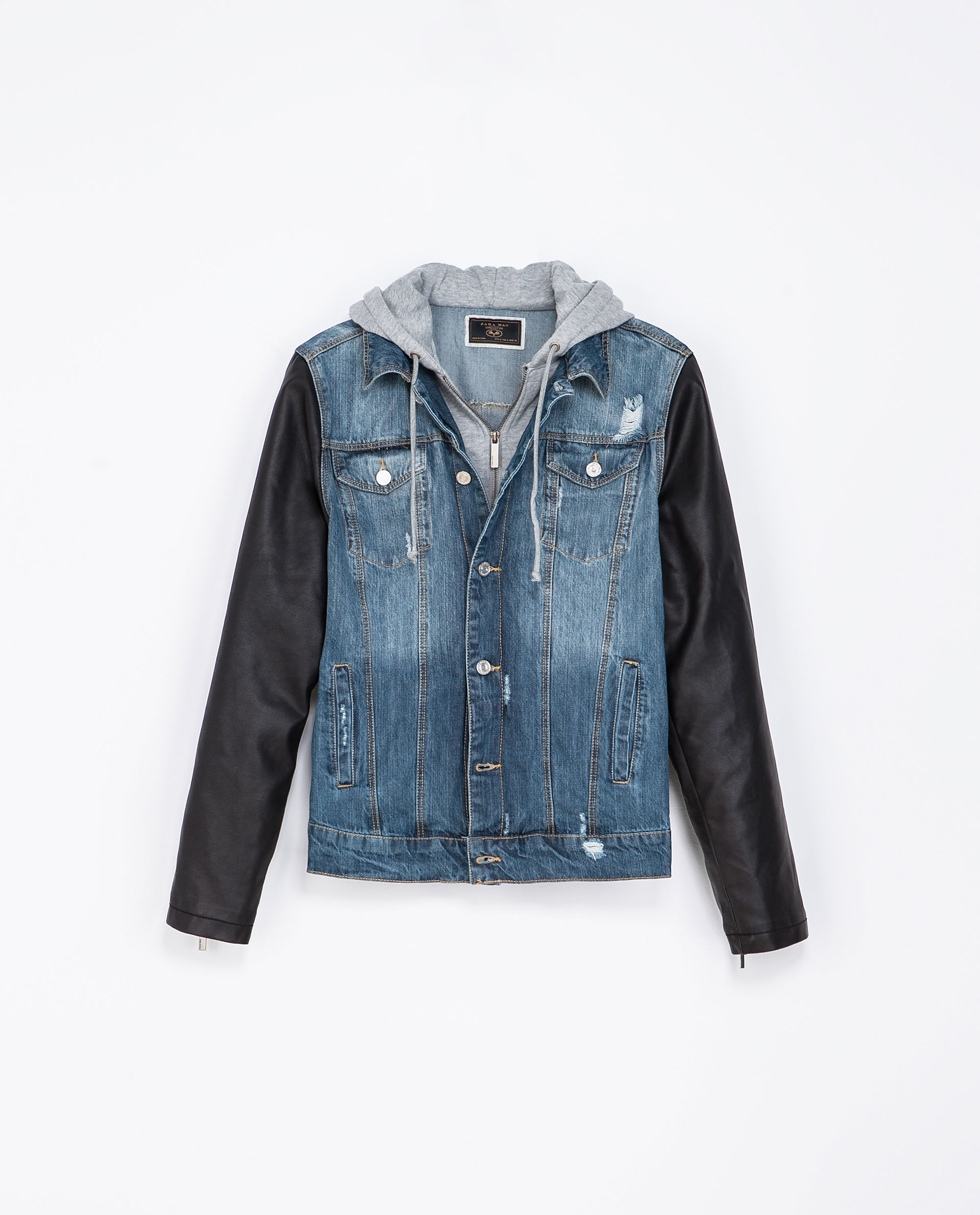 Leather Denim Jacket - Coat Nj