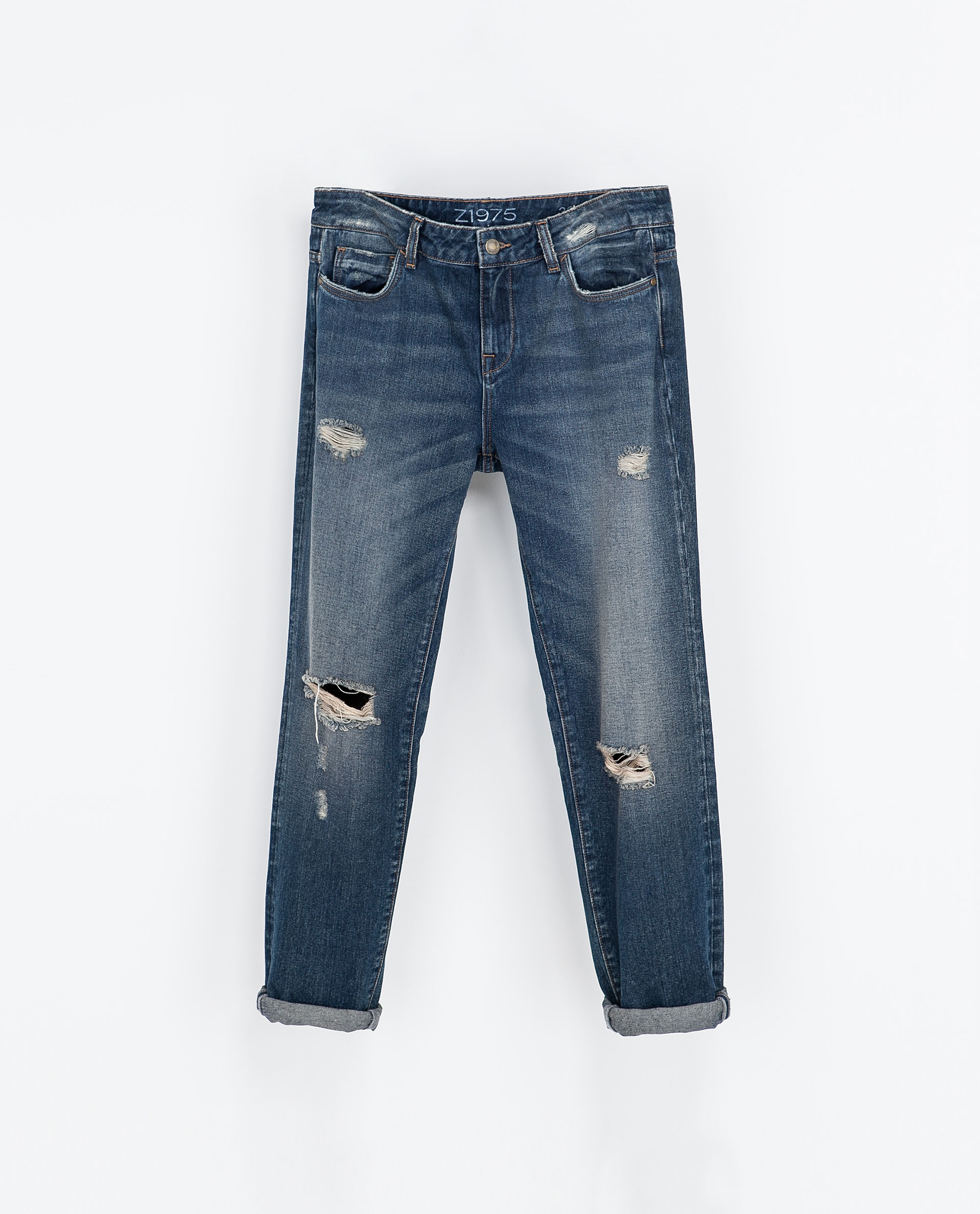 Zara Ripped Boyfriend Jeans in Blue  Lyst
