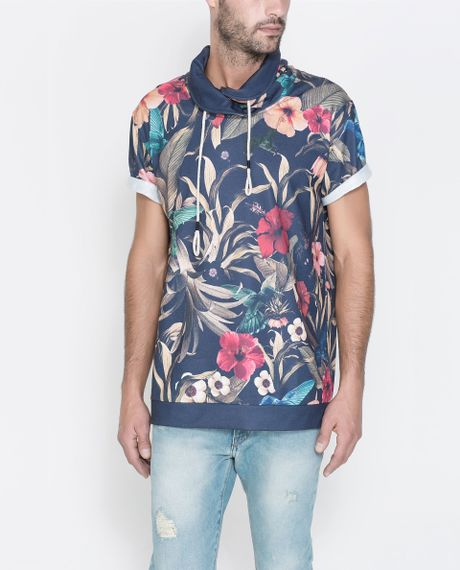 Zara printed t shirt in floral for men navy blue for Zara mens floral shirt