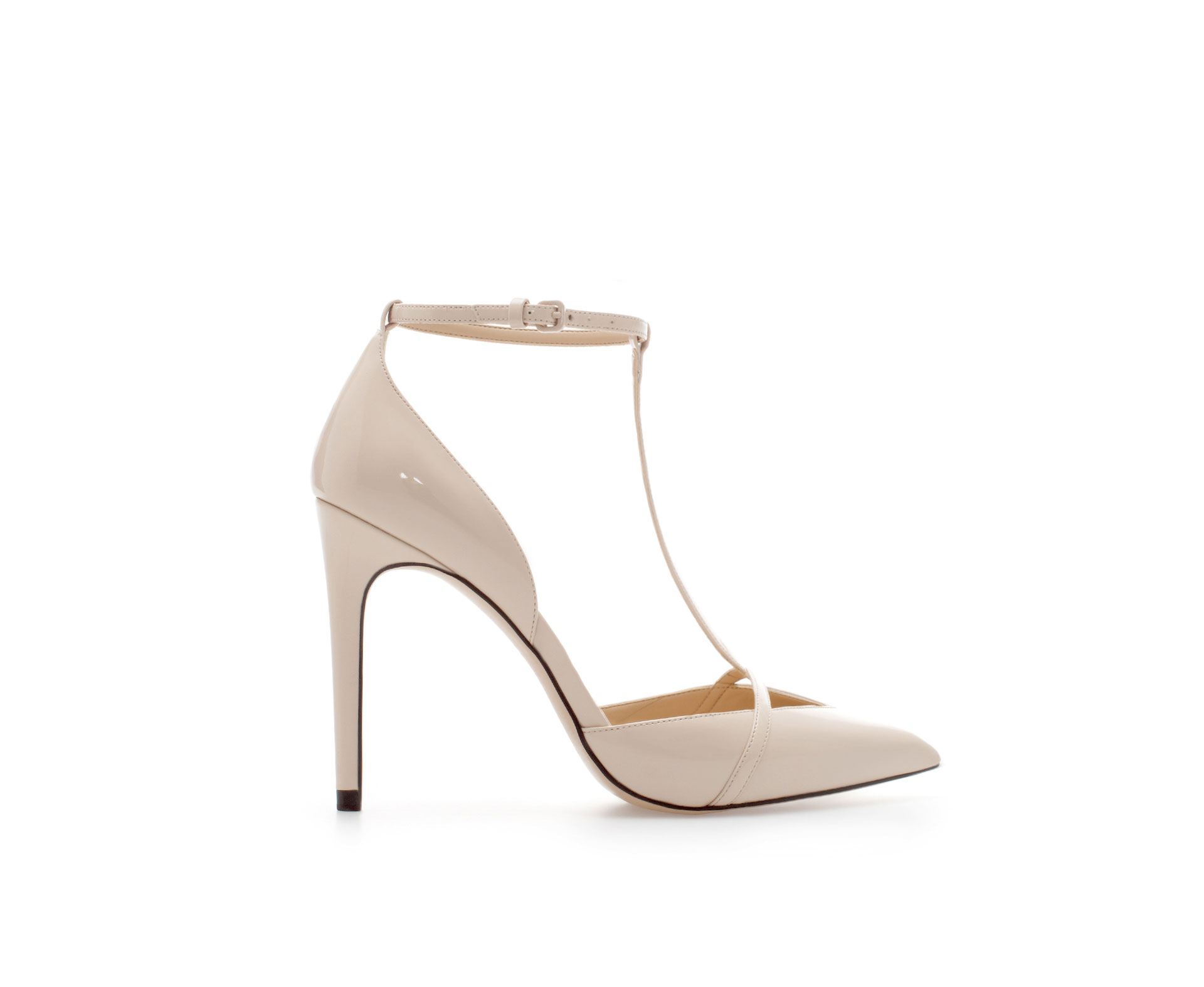 Zara Low Cut T-bar Synthetic Patent Leather Court Shoe in