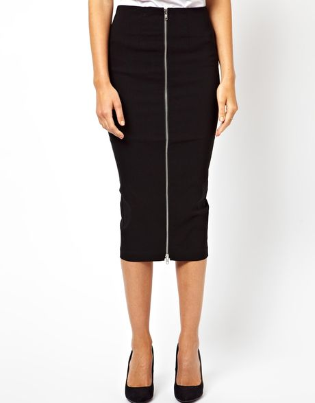 asos pencil skirt with zip front in black lyst