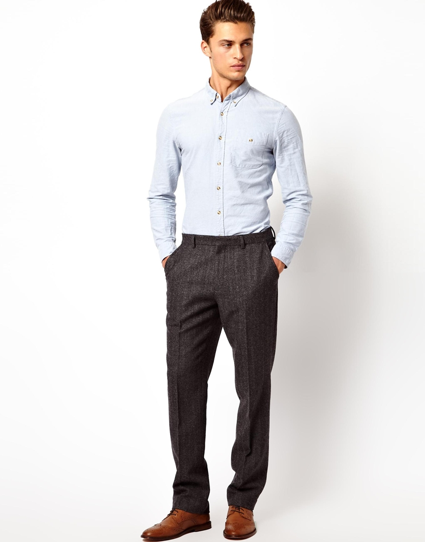 Vans Asos Slim Fit Suit Pants in Herringbone in Gray for Men | Lyst