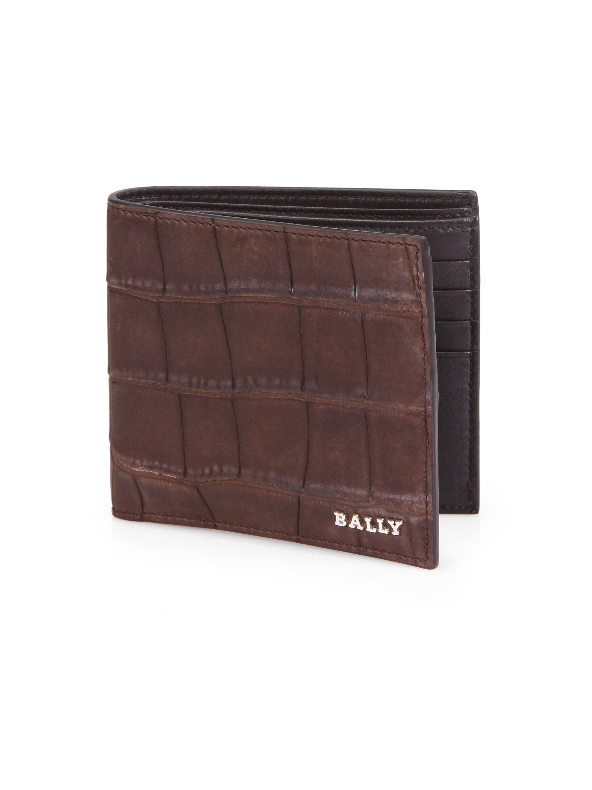 Lyst Bally Lollen Alligator Wallet In Brown For Men