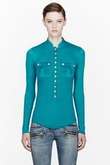Balmain Teal Cotton_cashmere Button Blouse - Lyst