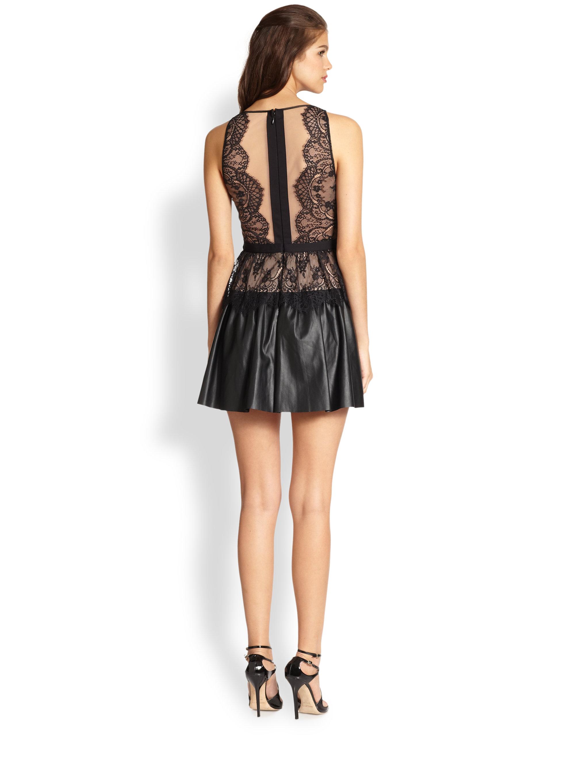 3219856b3f2 BCBGMAXAZRIA Layton Lace Faux Leather Dress in Black - Lyst