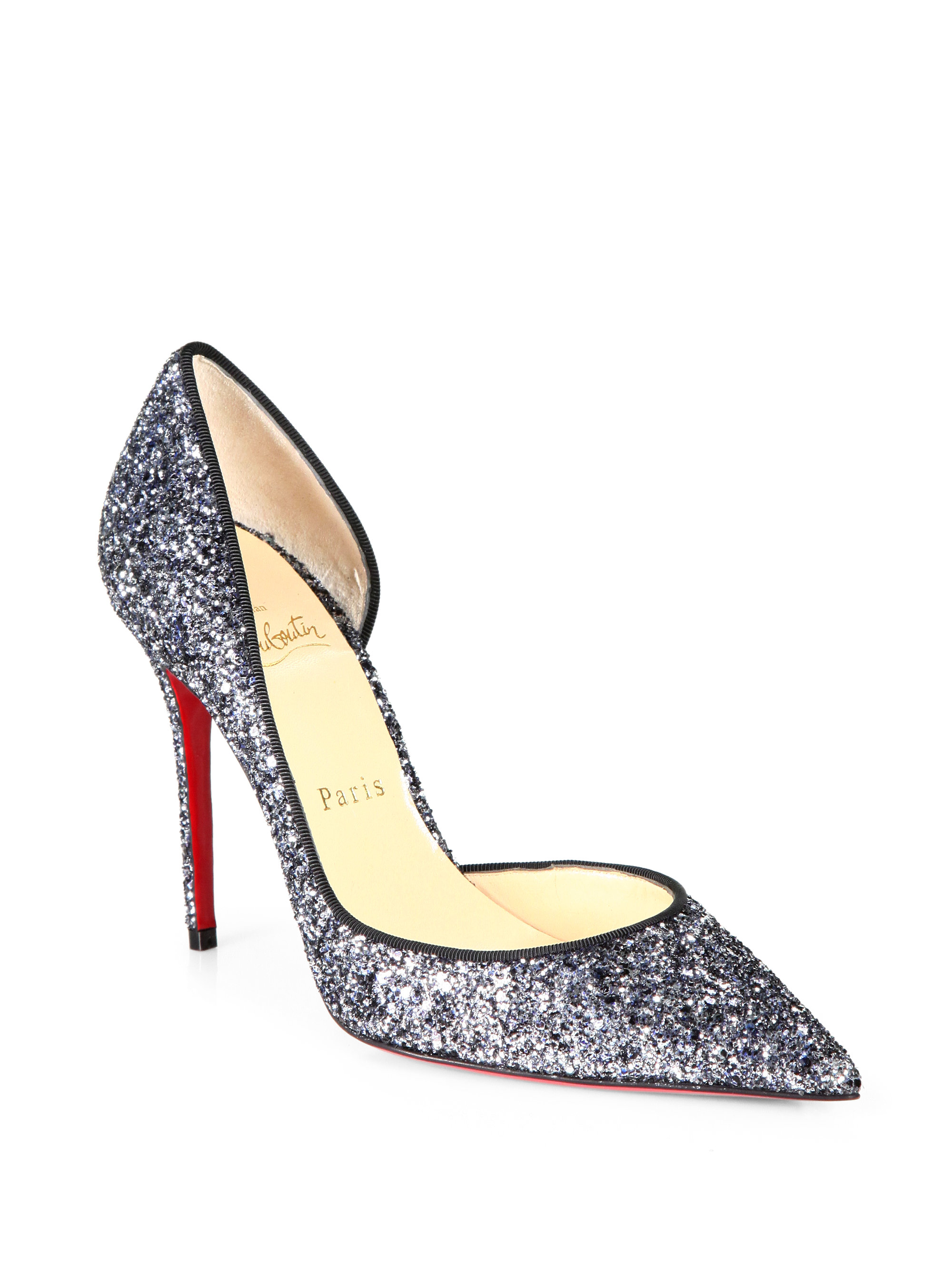 christian louboutin round-toe pumps Black glitter grosgrain trim ...