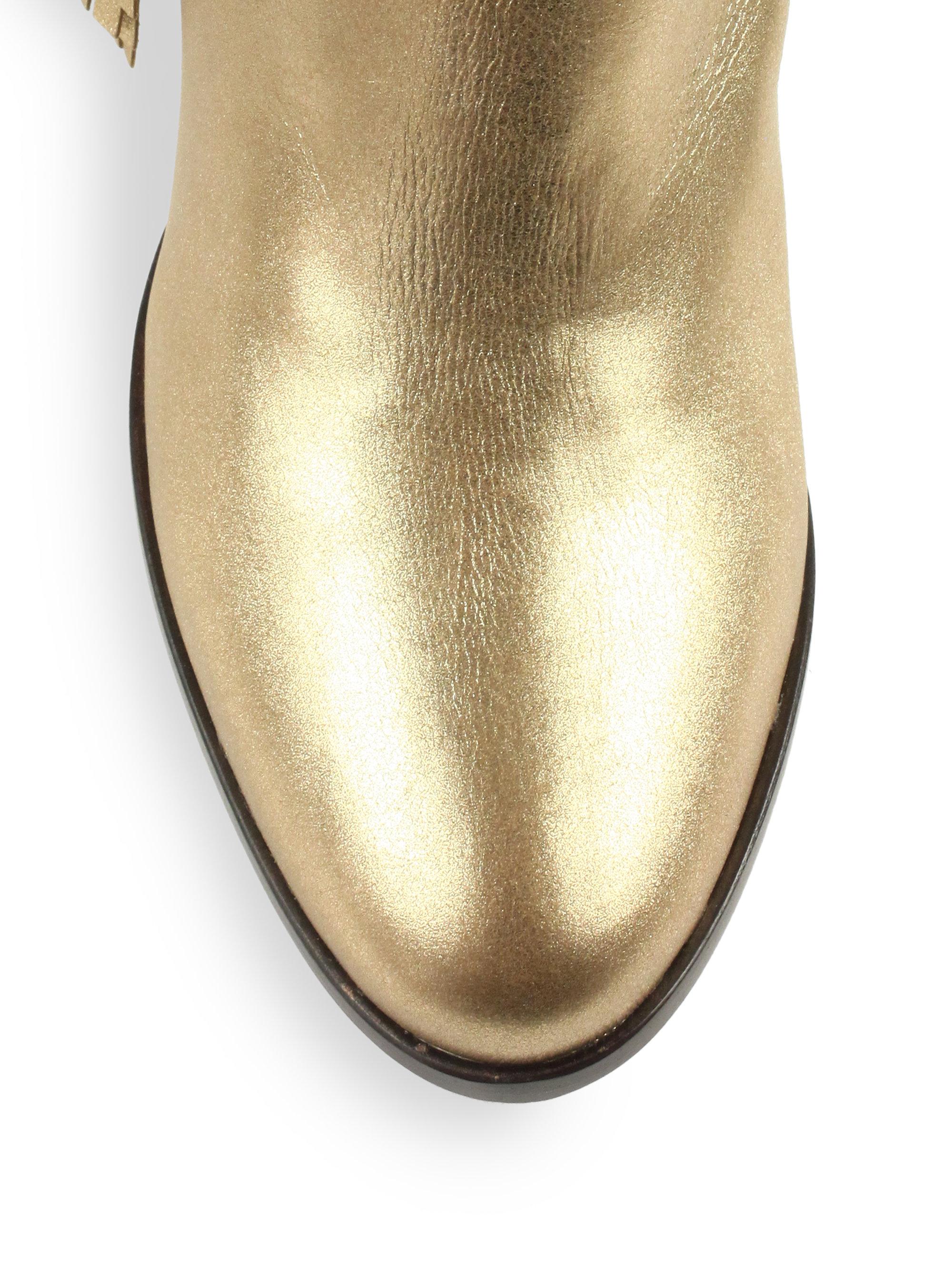 fake loubitons - Christian louboutin Jimmynetta Metallic Leather Fringe Ankle Boots ...