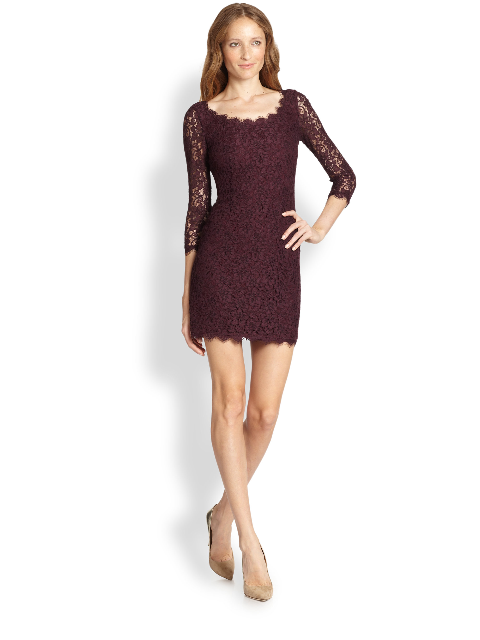 Lyst diane von furstenberg zarita lace scoopneck dress for Diane von furstenberg clothes