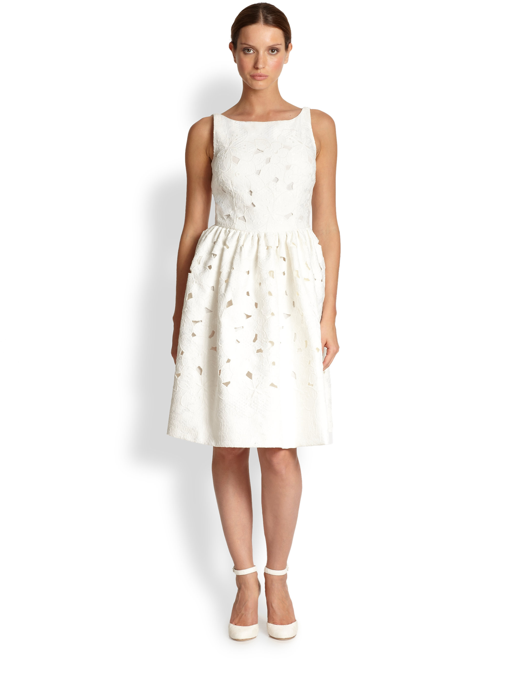 Dolce &amp- gabbana Eyelet Lace Dress in White - Lyst