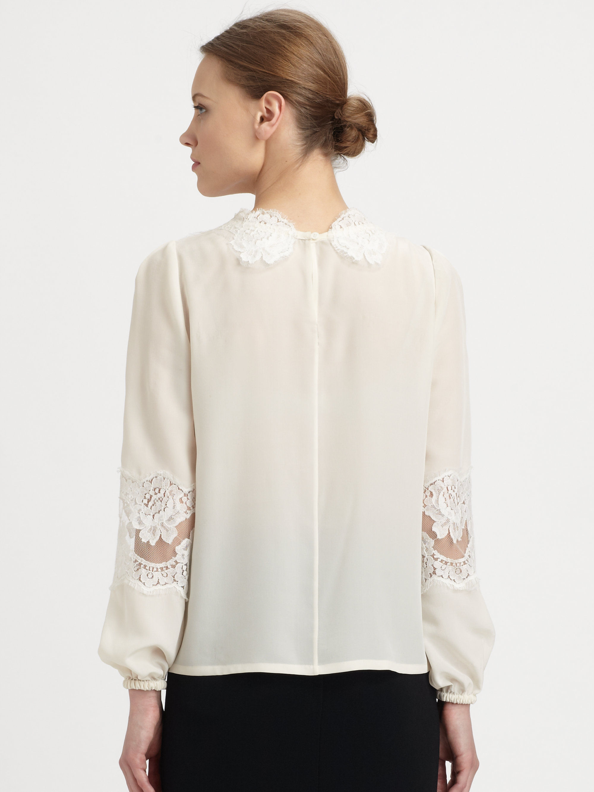 769ad4f77d7c2a Lyst - Dolce   Gabbana Lace Detail Silk Blouse in White