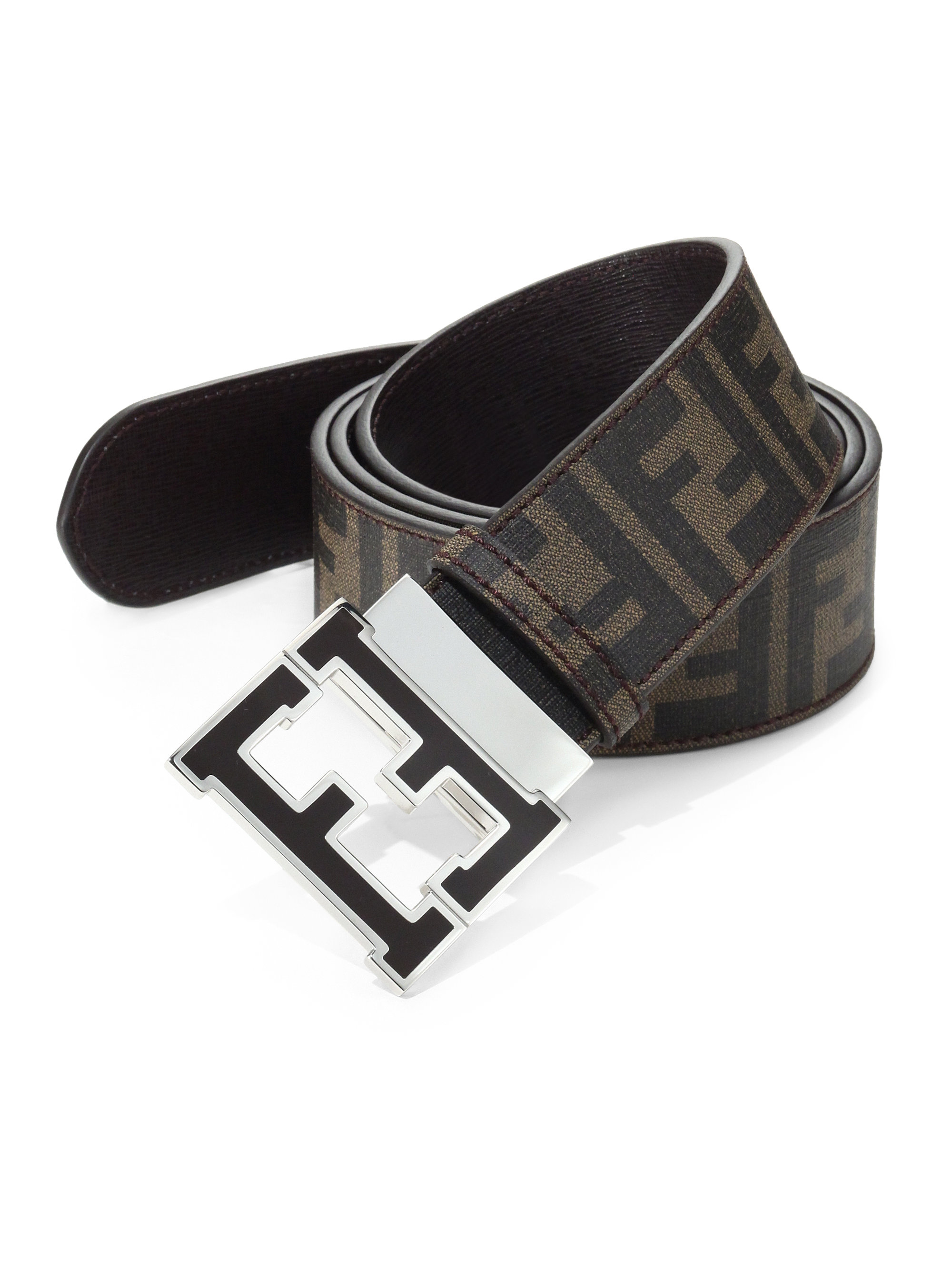 lyst fendi logo reversible belt in brown