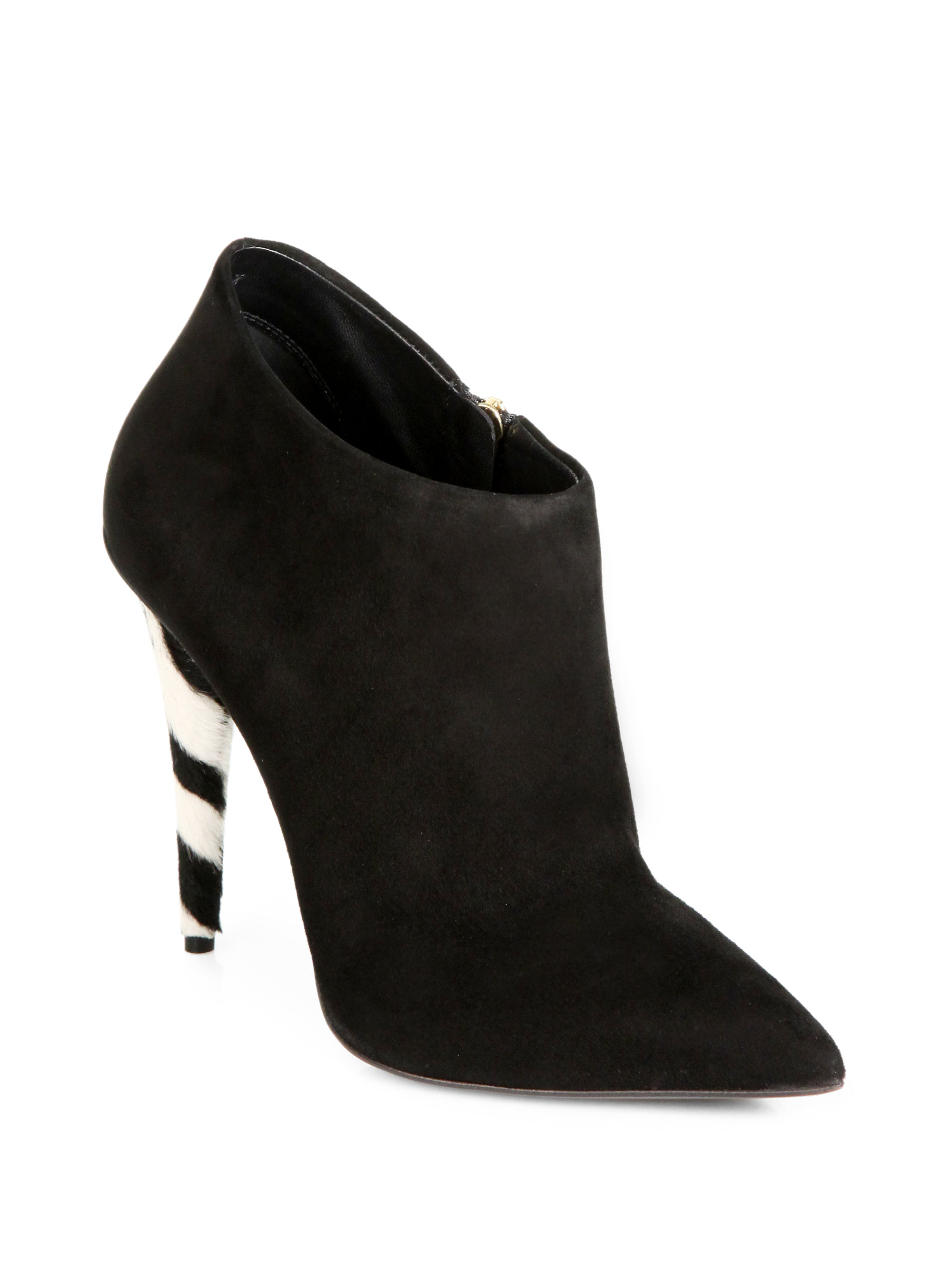 giuseppe zanotti suede zebra print calf hair ankle boots