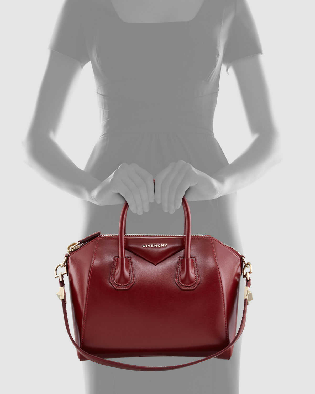 Givenchy Antigona Small Shiny Box Satchel Bag Burgundy in Red | Lyst