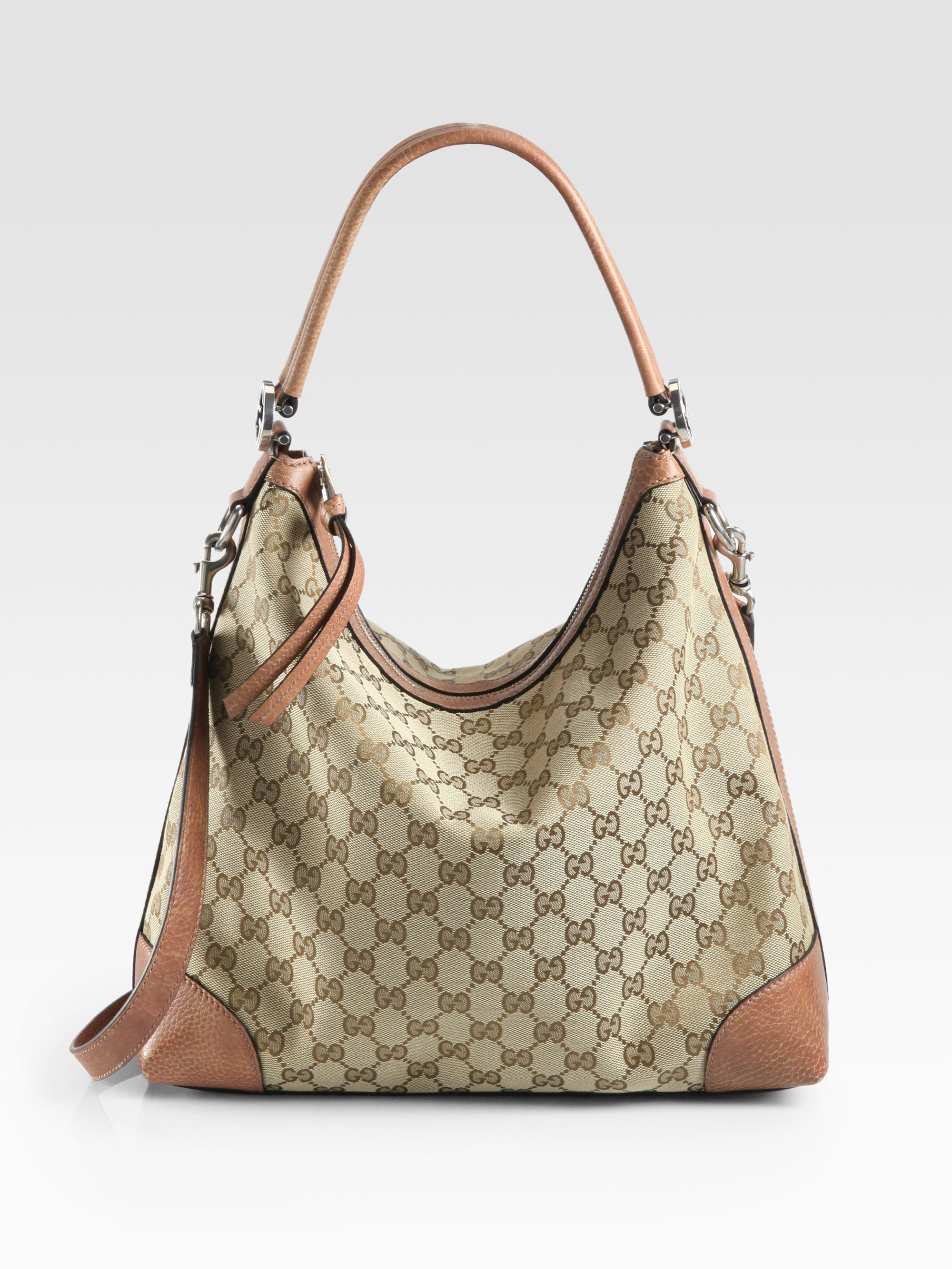 02d5b4171fcd7 Lyst - Gucci Miss Gg Original Gg Canvas Hobo in Natural