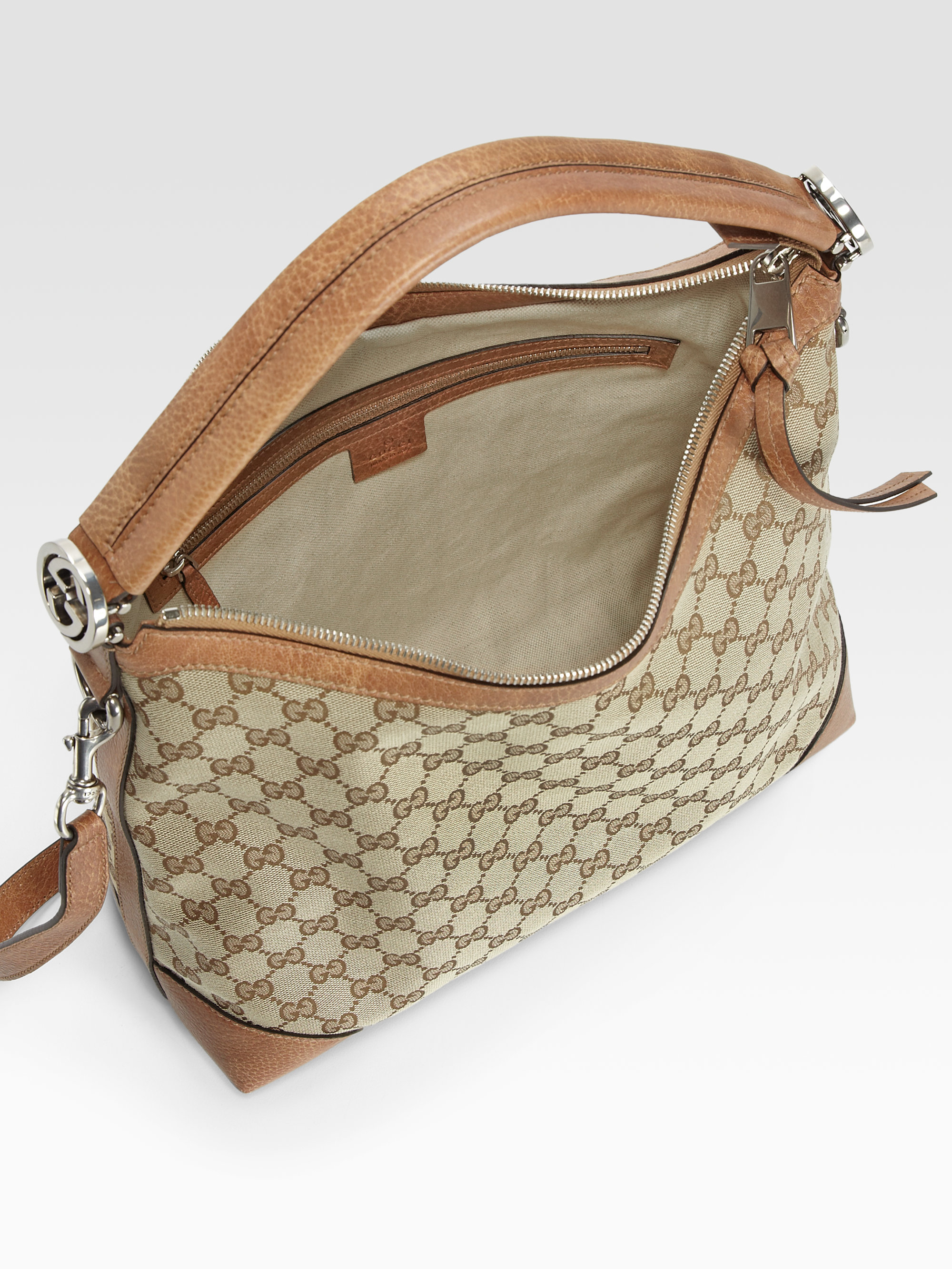 Gucci Miss Gg Original Gg Canvas Hobo in Natural | Lyst