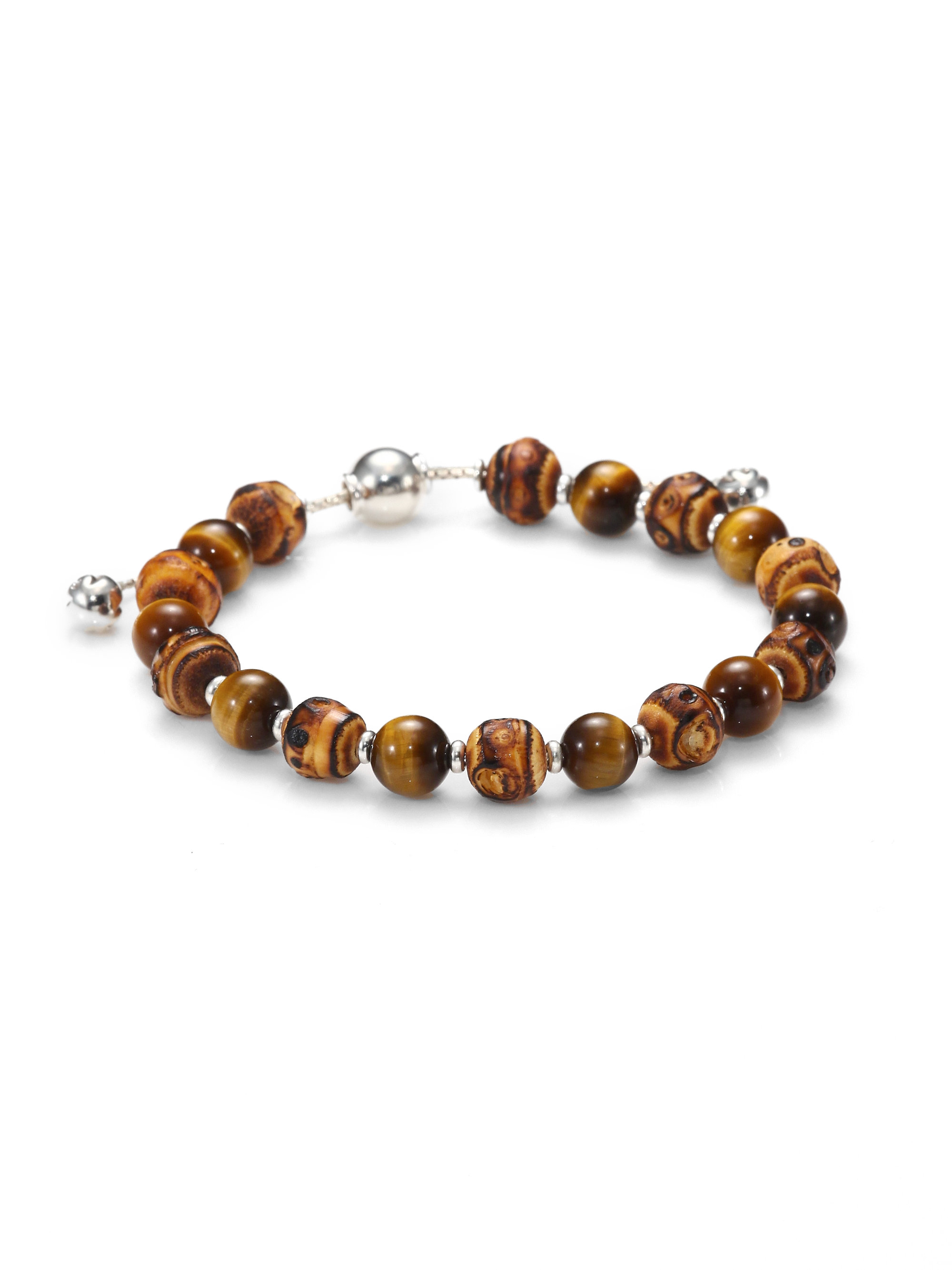 Tigers Eye Bead And Sterling Silver Bracelet Tateossian