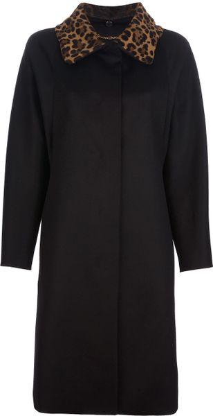 Gucci Leopard Print Collar Overcoat in Black (leopard)
