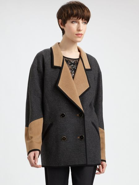 Jason Wu Bicolor Woolcamel Coat in Black (CAMEL CHARCOAL) - Lyst