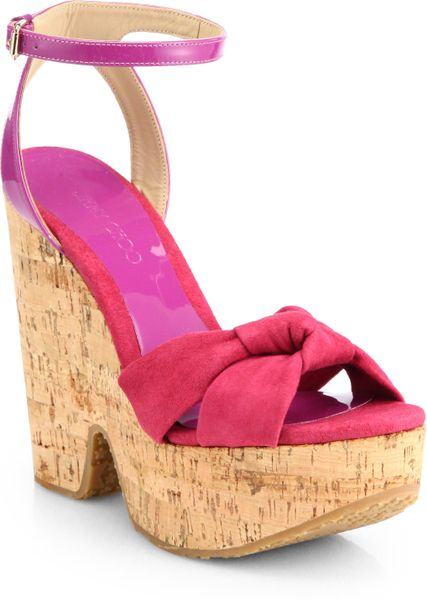 Jimmy Choo Gleam Suede Patent Leather Cork Wedge Sandals