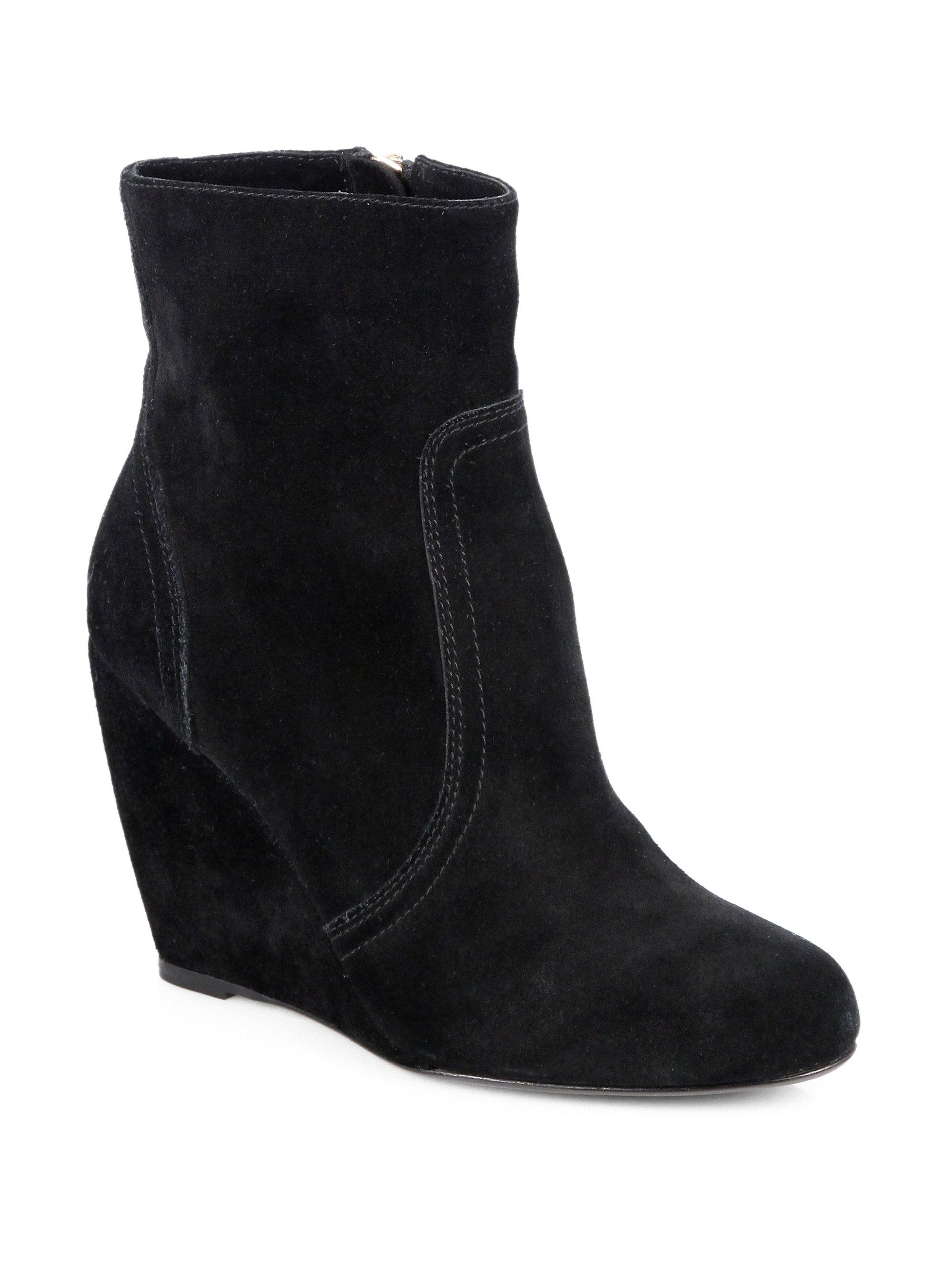 joie oakley suede wedge ankle boots in black lyst