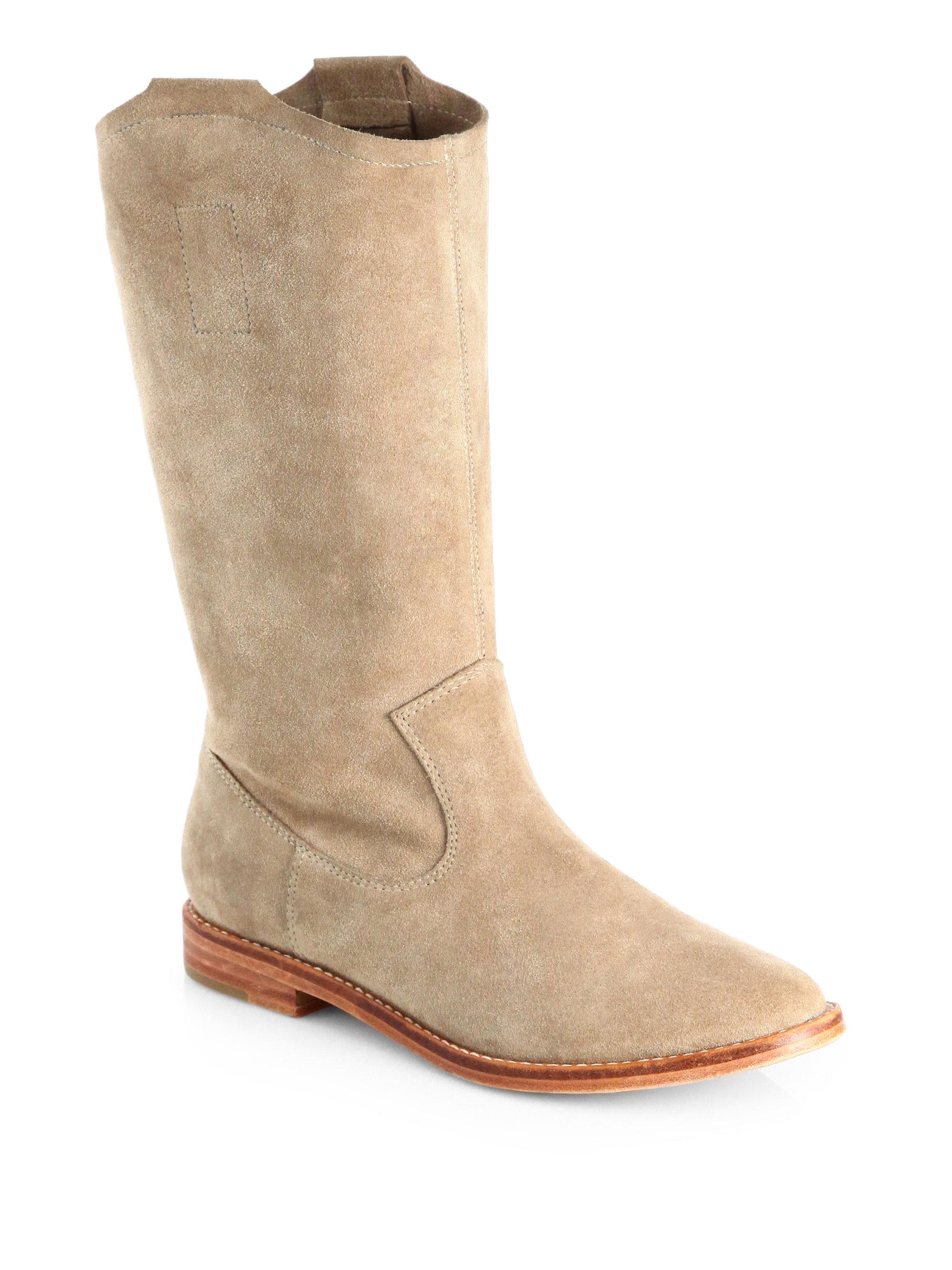 joie ogden slouchy suede boots in beige cement lyst