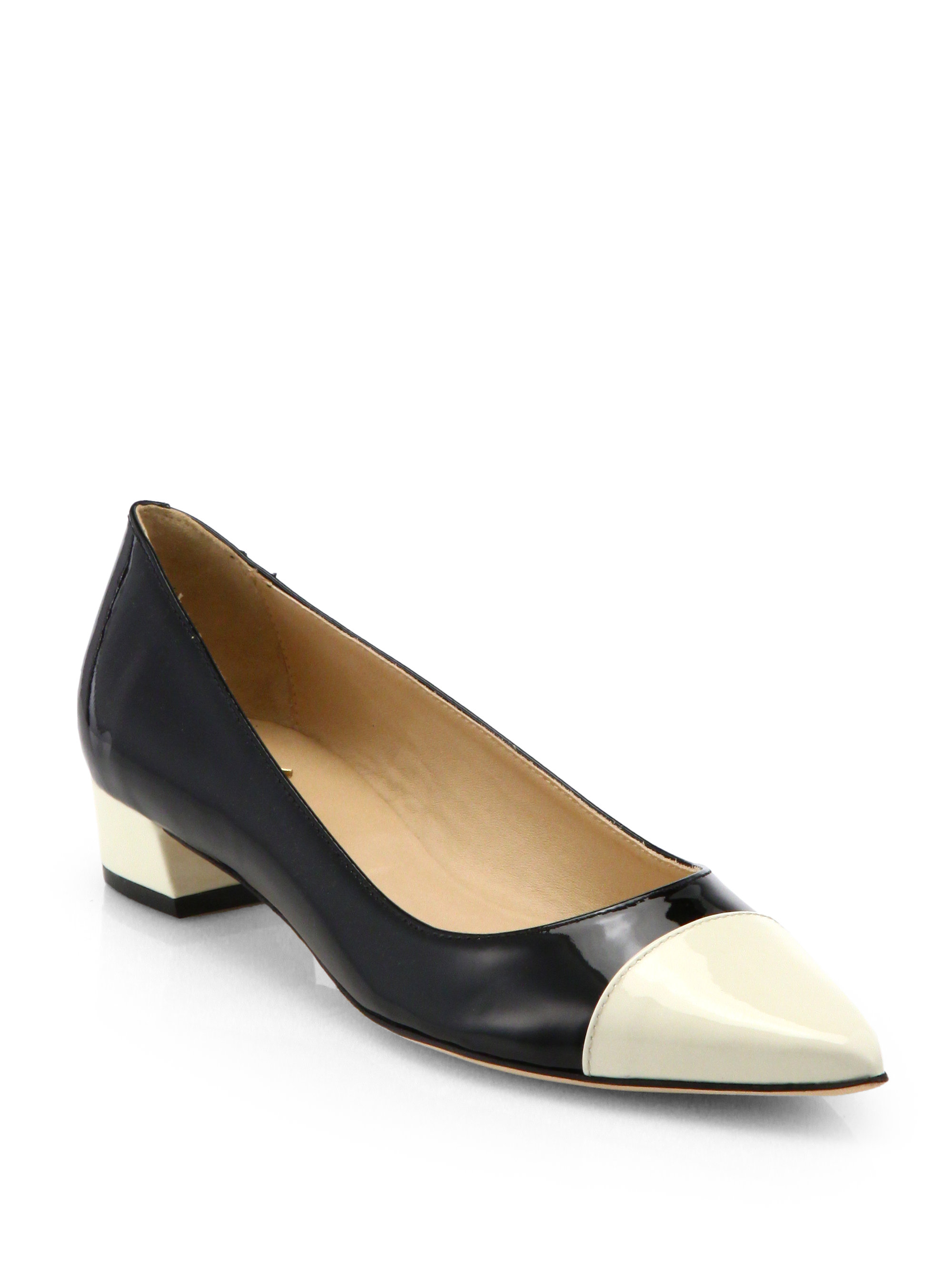 kate spade adie bicolor patent leather pumps in black lyst