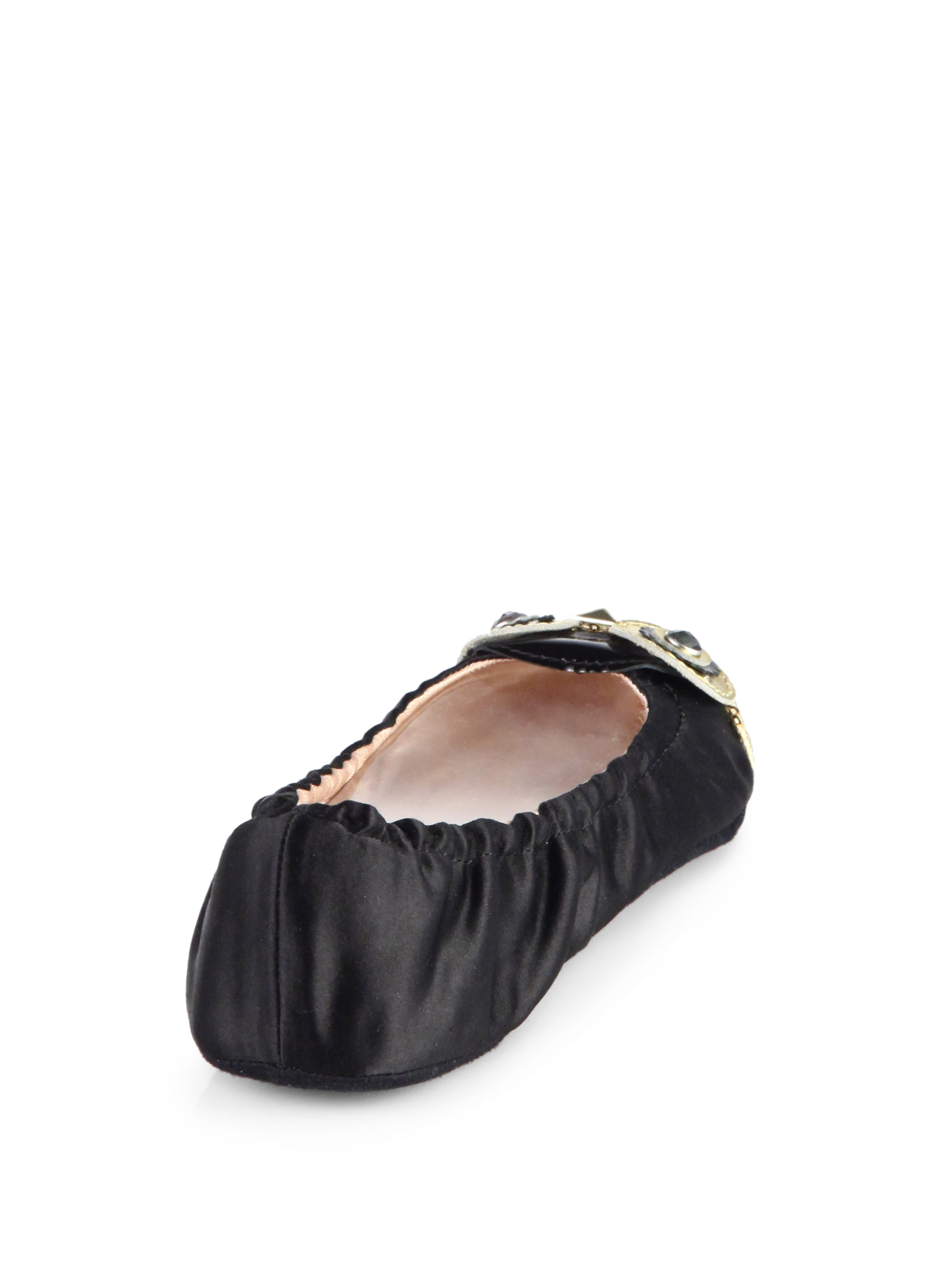 79d0d1d3f387 Lyst - Kate Spade Cuckoo Owl Sequinsatin Slippers in Black
