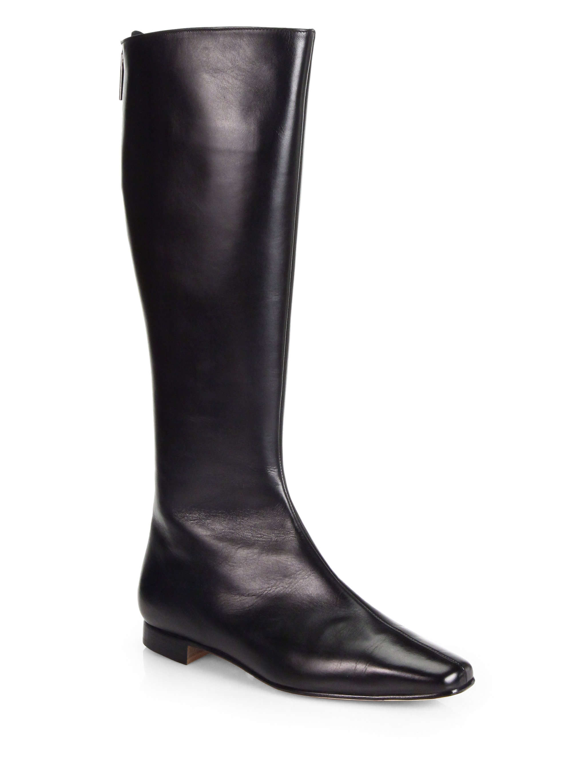 Manolo Blahnik Courrihi Leather Boots In Black Lyst