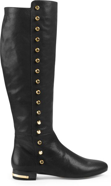 michael kors ailee flat studded knee boot in black lyst