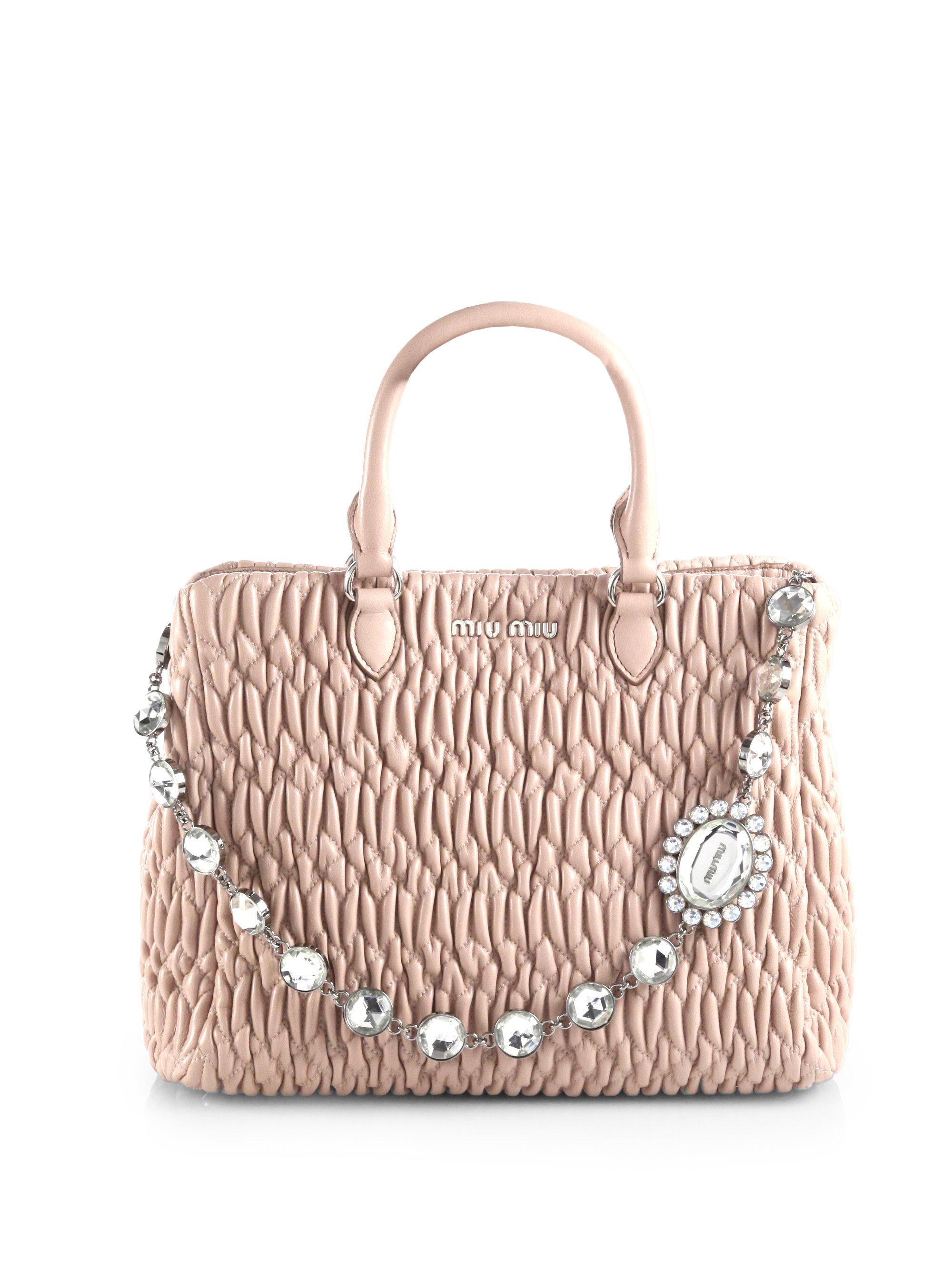 8e24240da6 Lyst - Miu Miu Swarovski-Crystal Quilted Leather Tote in Pink