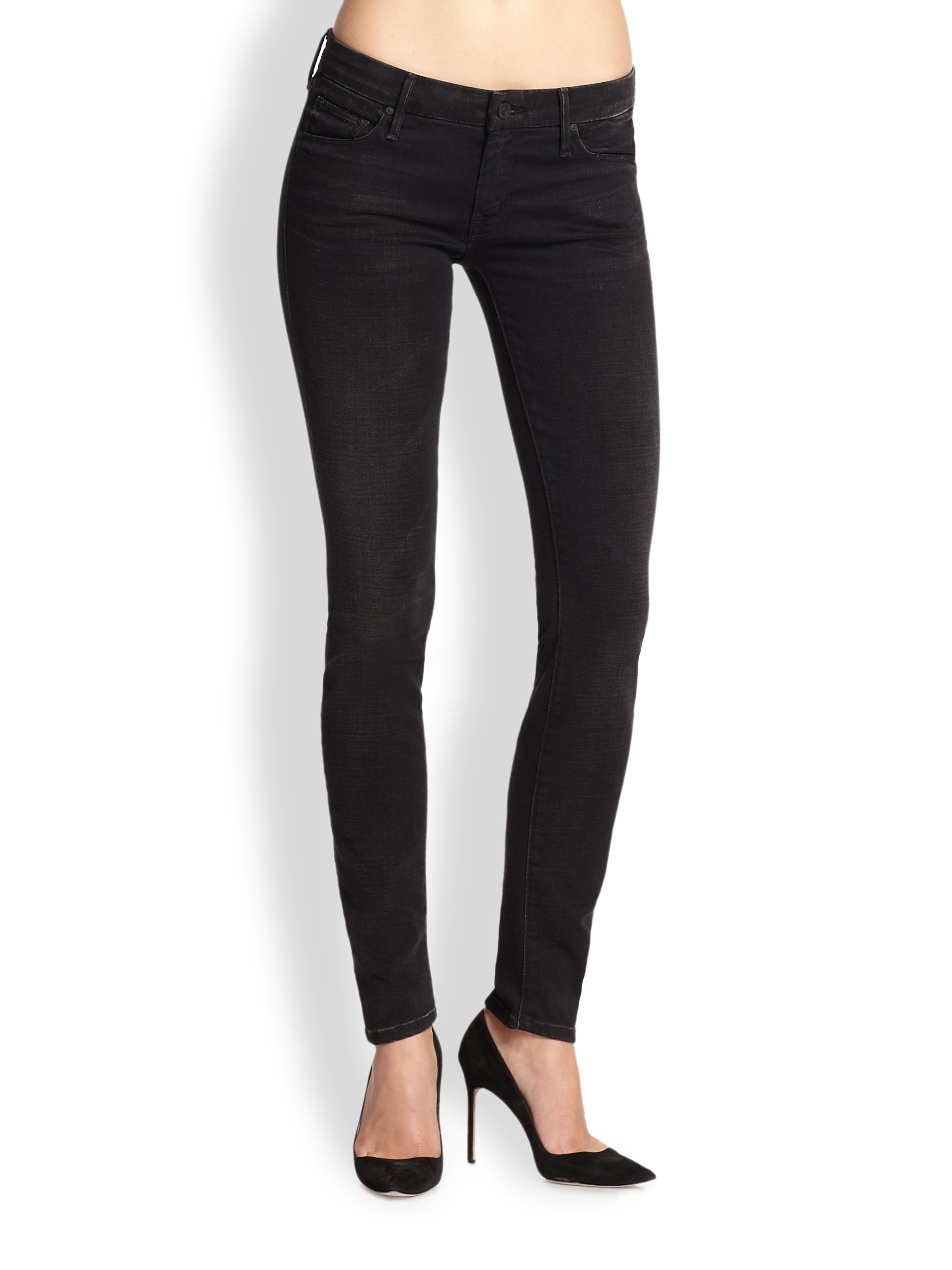 Mother The Looker Skinny Jeans in Black | Lyst