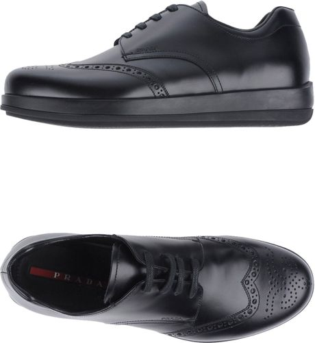 prada sport laced shoes in black for lyst