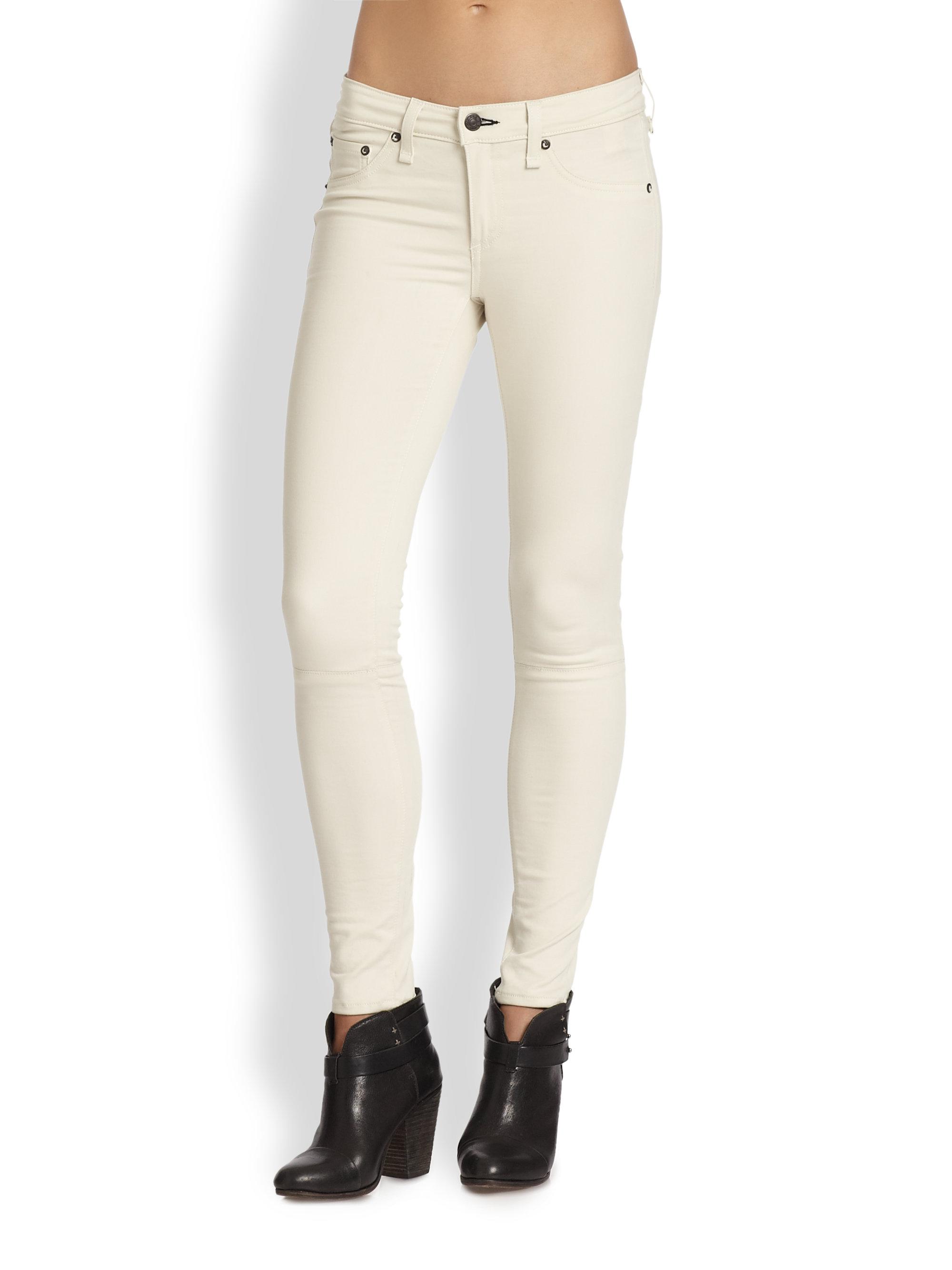 Rag &amp bone Devi Laceup Skinny Jeans in White | Lyst