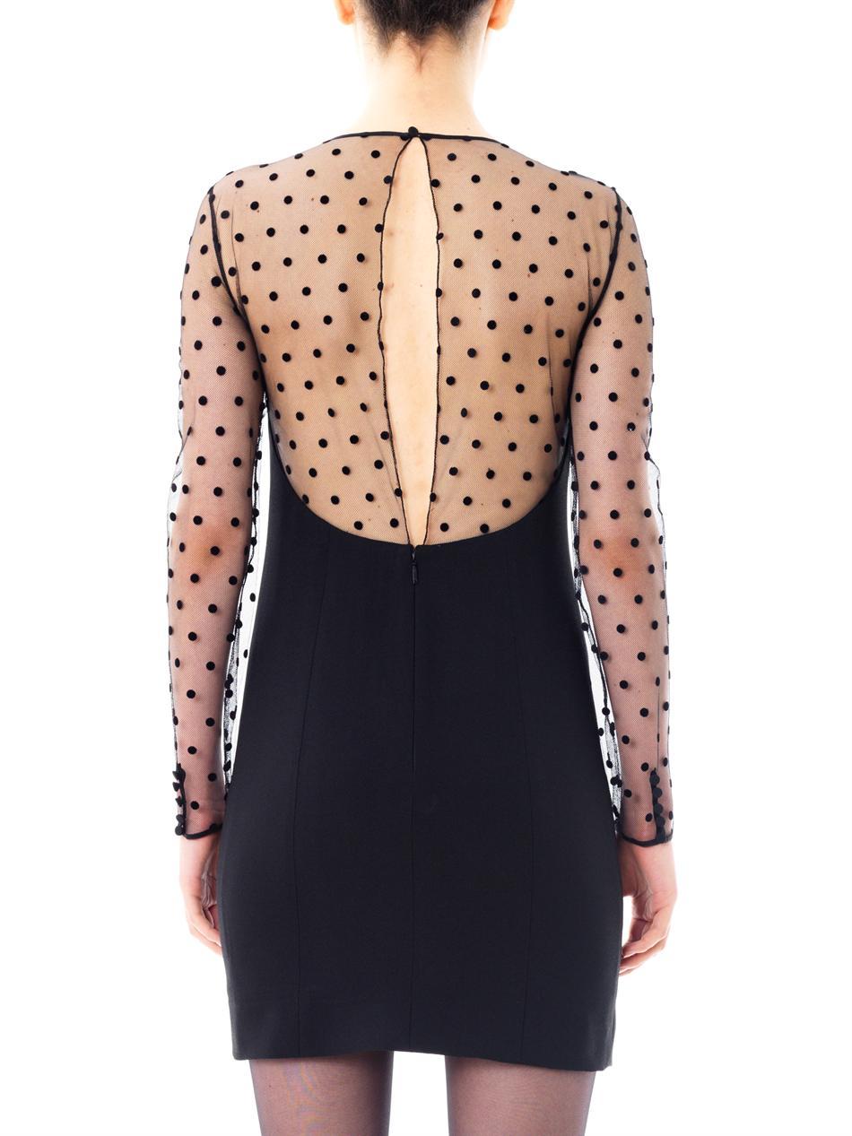 Lyst Saint Laurent Polka Dot Tulle Dress In Black
