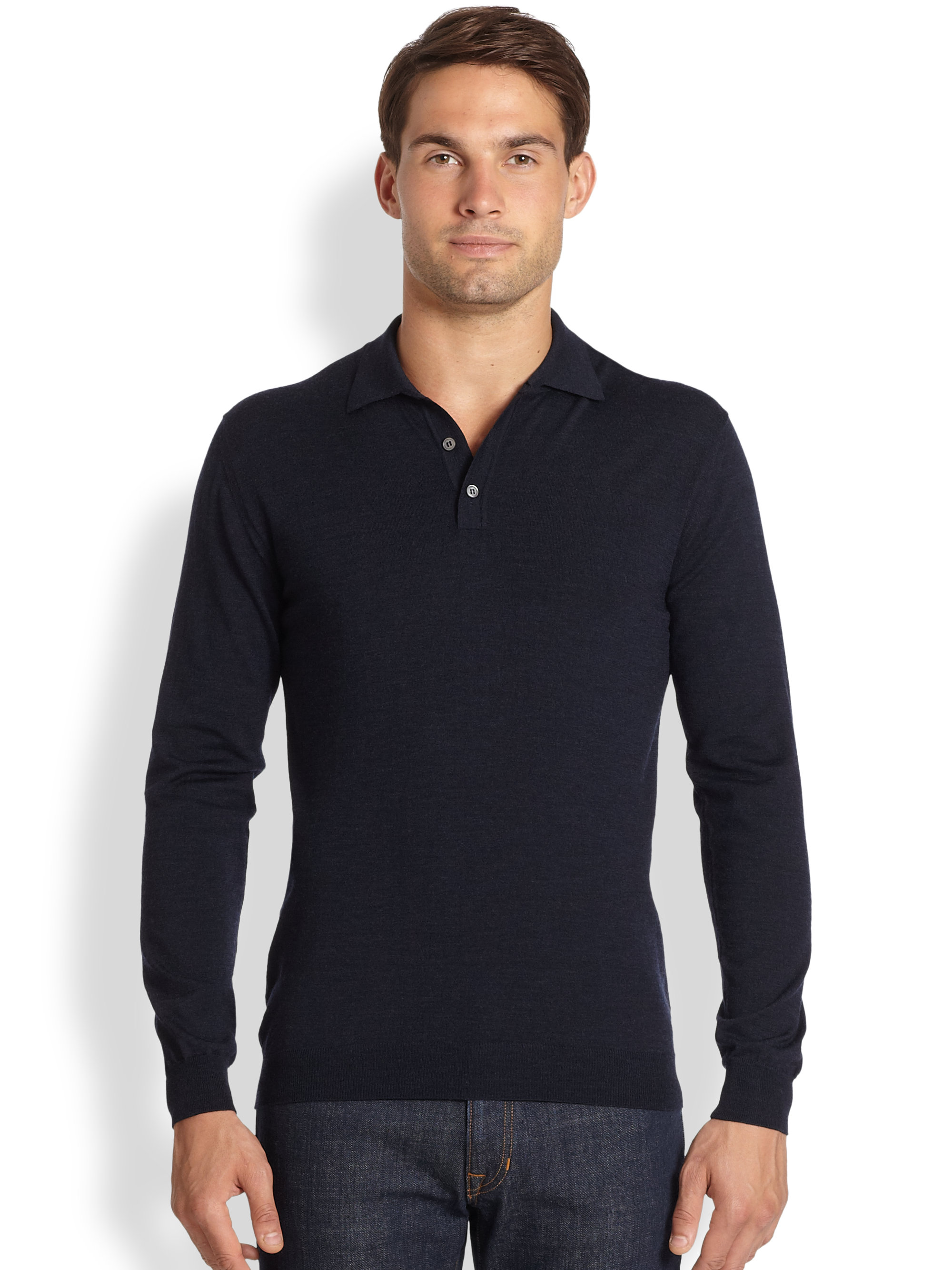 Lyst slowear zanone stretch wool polo shirt in blue for men for Stretch polo shirt mens