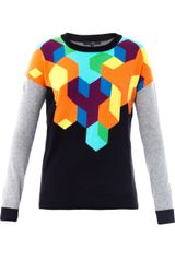 Tibi Geometric Intarsia Knit Sweater - Lyst