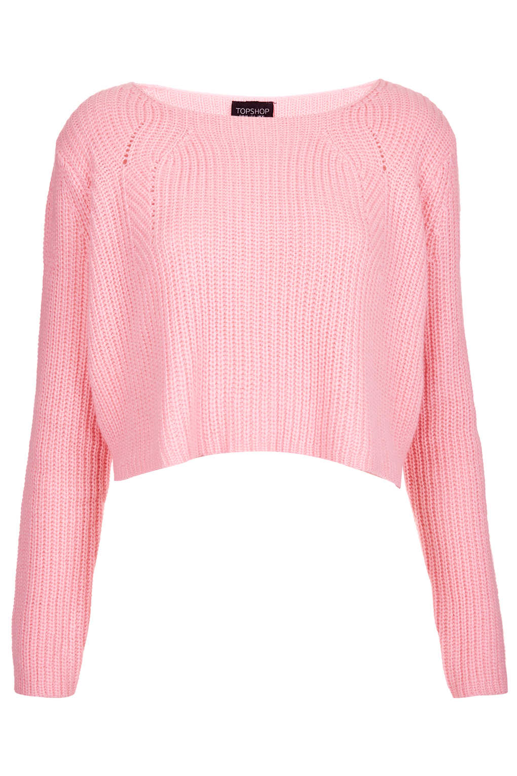 Topshop Petite Clean Ribbed Cropped Jumper in Pink | Lyst