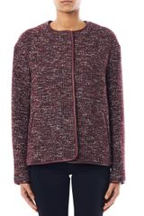 Vanessa Bruno Athé Leather trimmed Tweed Jacket - Lyst