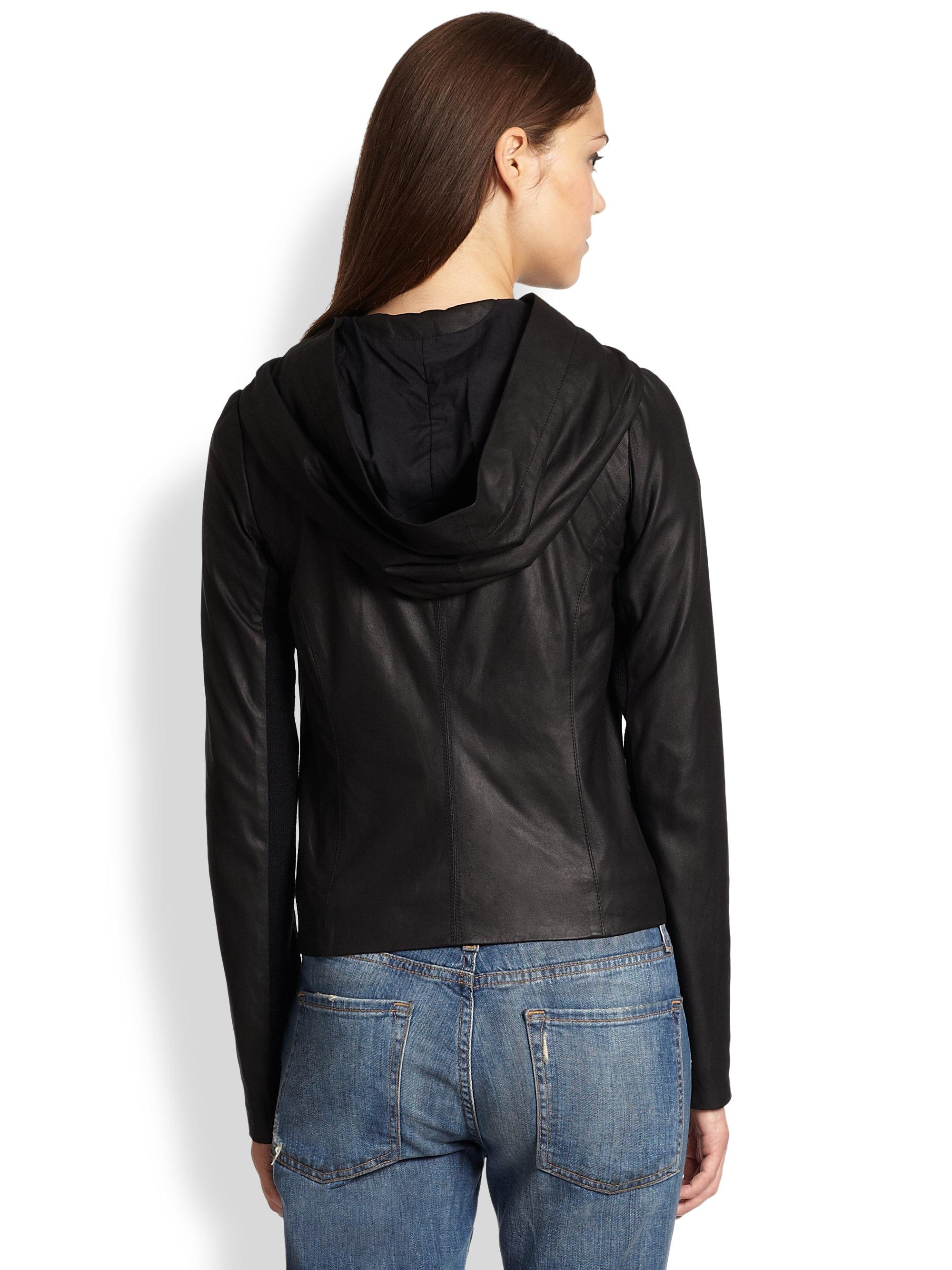 Vince black paper leather jacket
