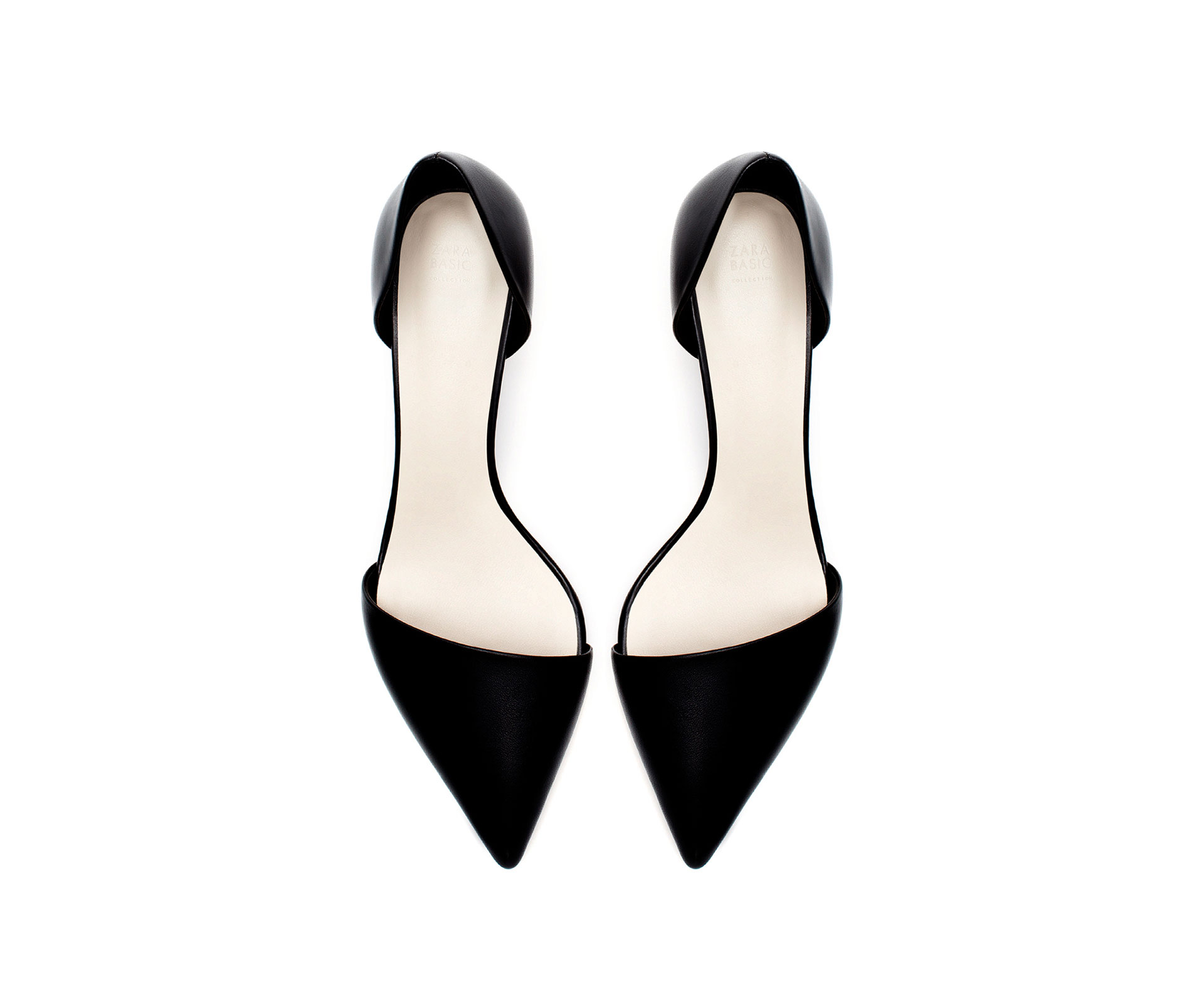 Zara Kitten Heel Pointed Shoes in Black | Lyst