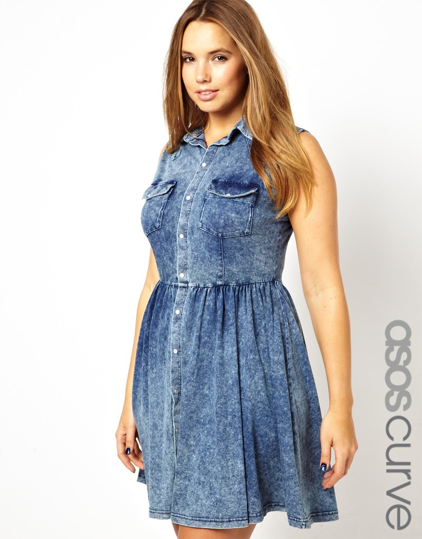 Boutique by jaeger Asos Curve Shirt Dress in Acid Wash in Blue   Lyst