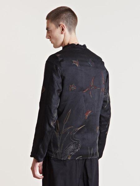By Walid Mens Silk Fur Kimono Jacket In Gray For Men
