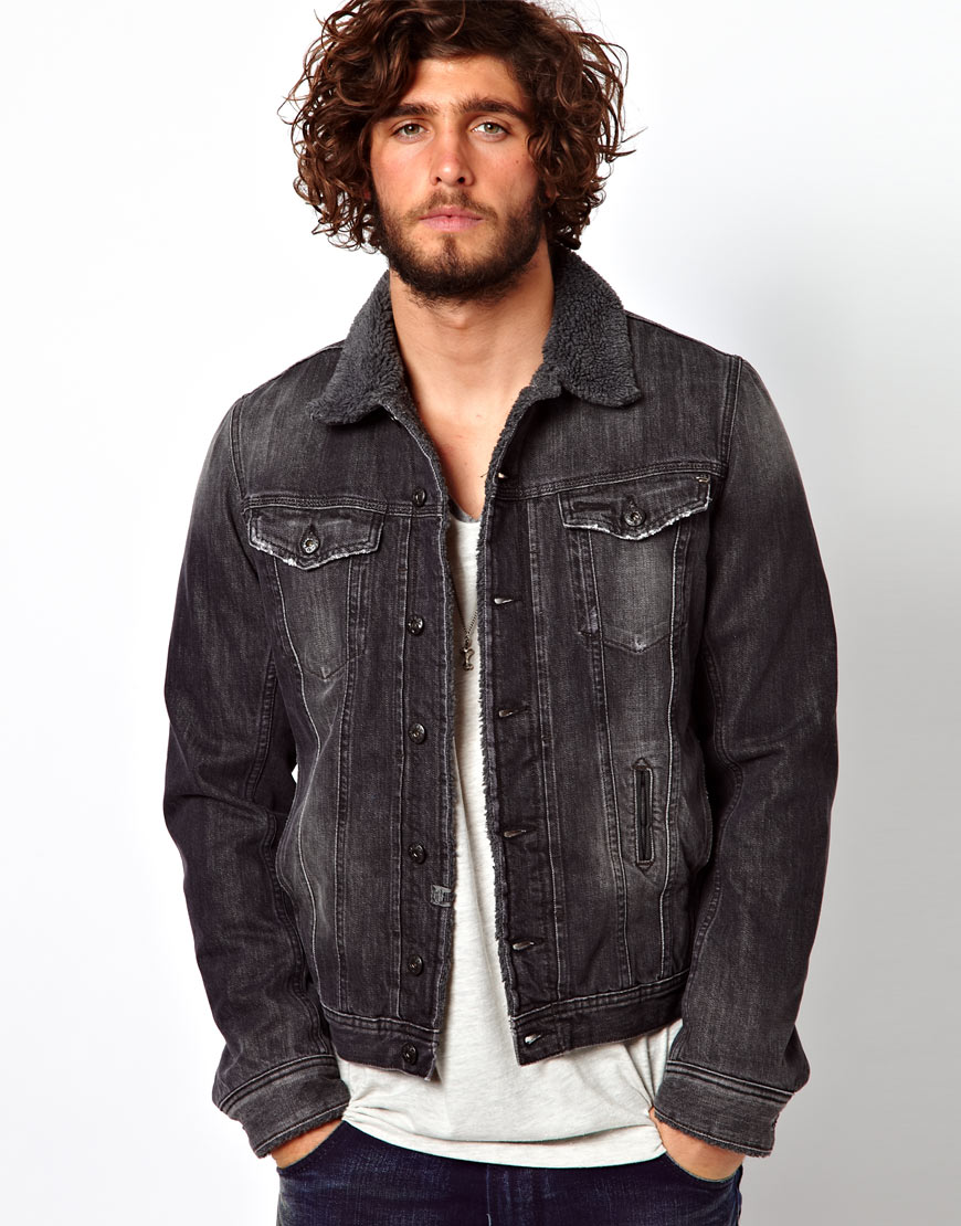 Diesel Denim Jacket Elshar Borg Lined In Black For Men Lyst